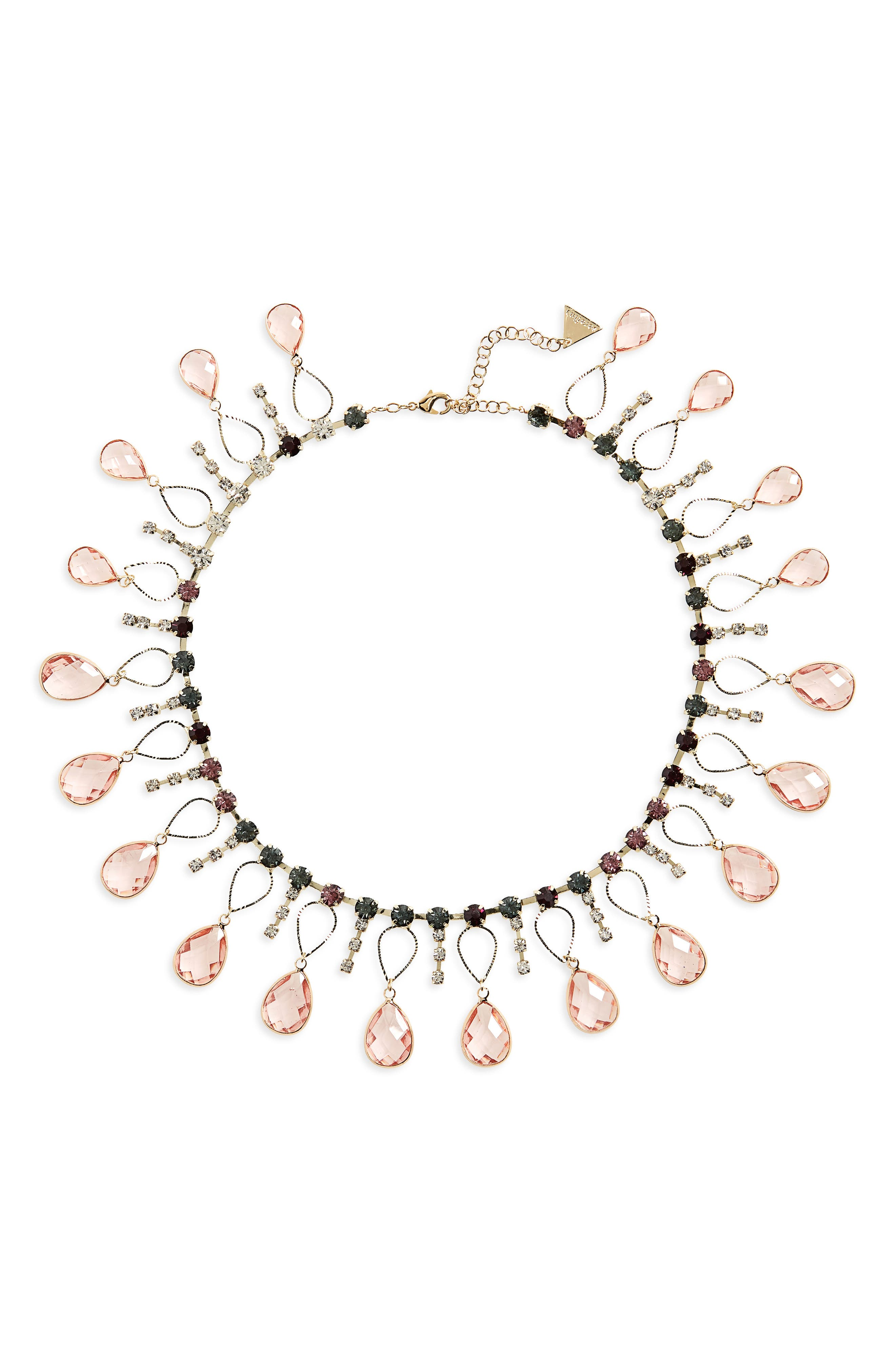 Scattered Crystal Necklace,                             Main thumbnail 1, color,                             Pink