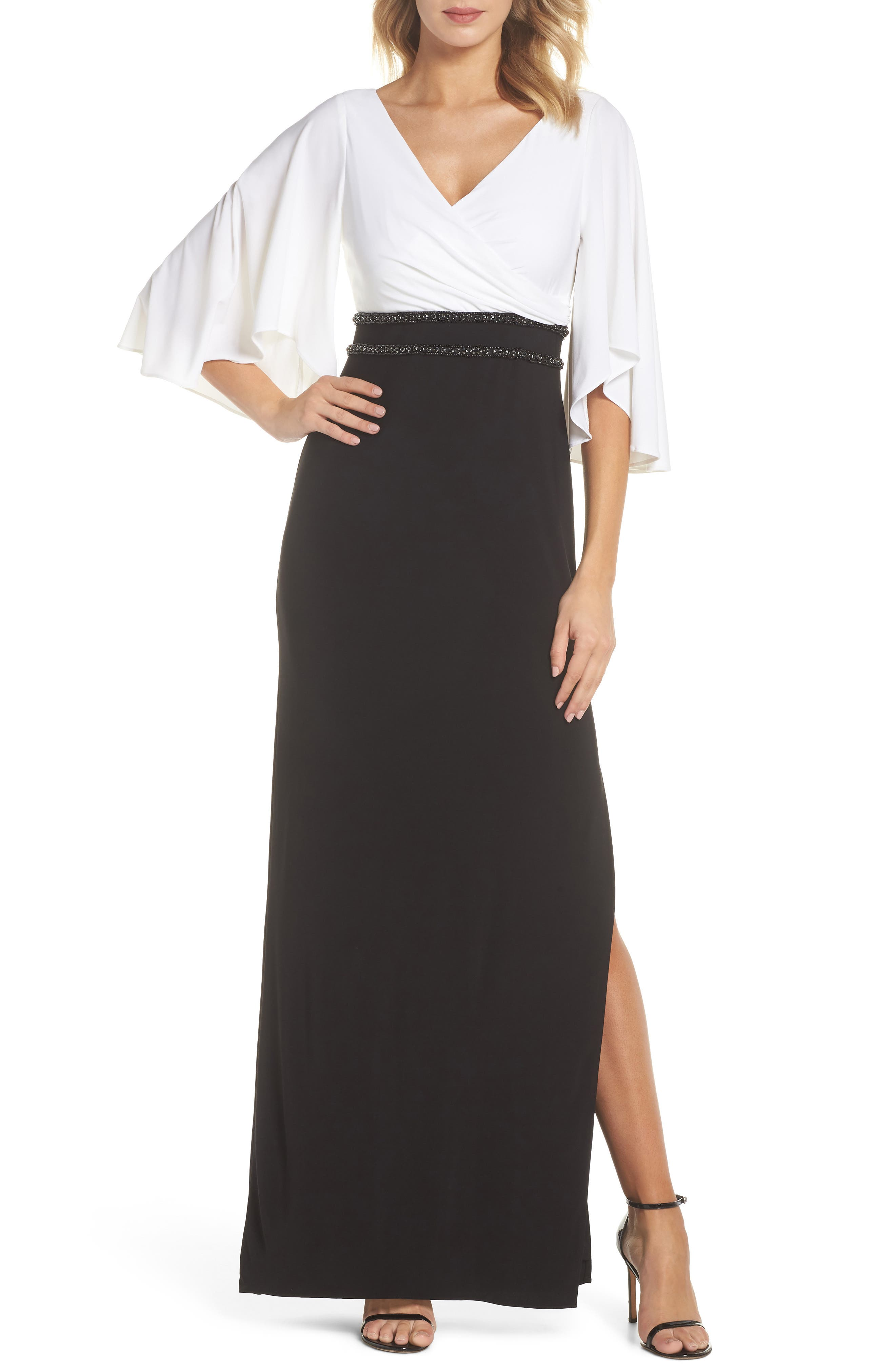 Jersey Evening Gown,                         Main,                         color, Ivory/ Black