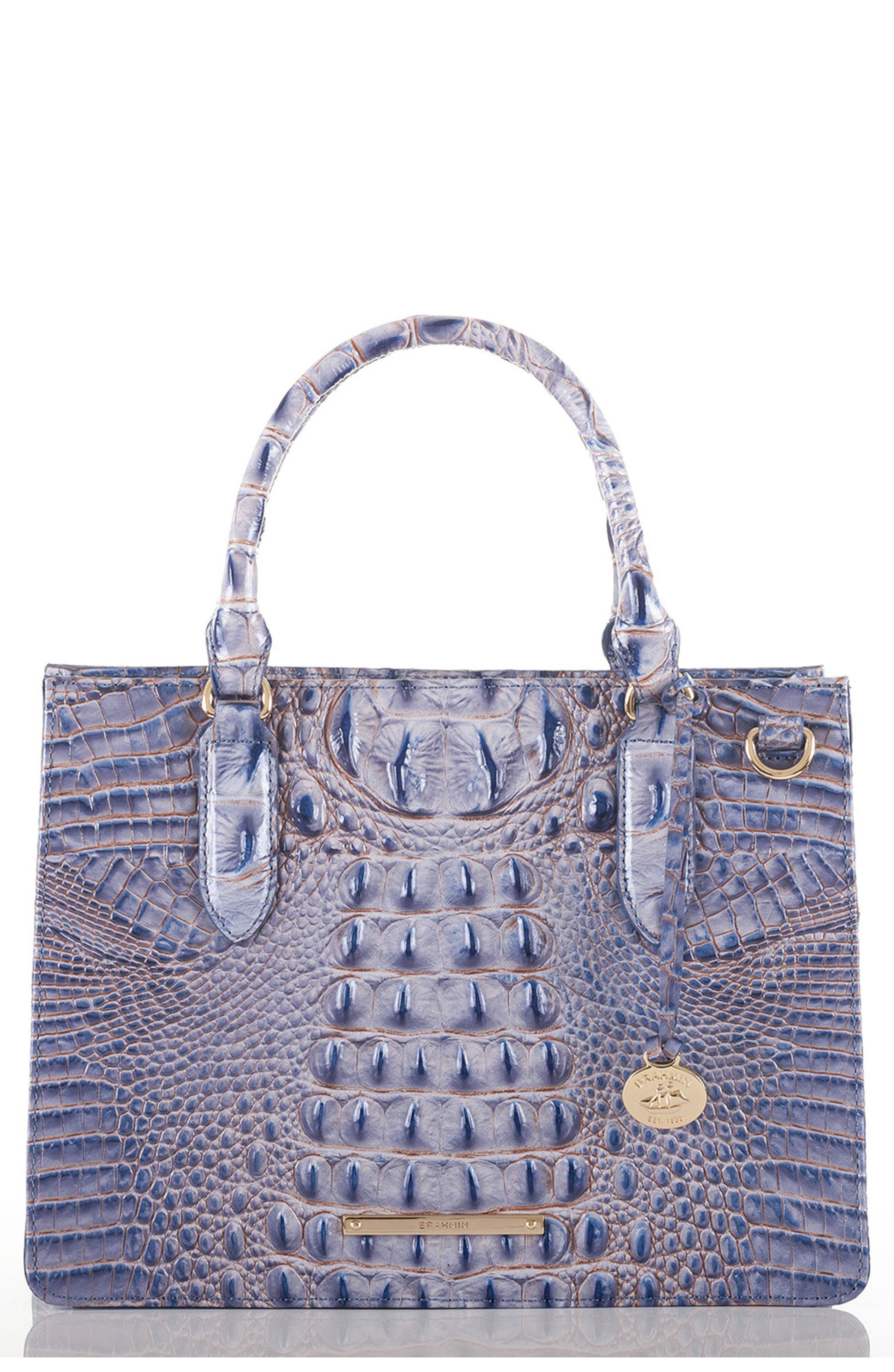 Small Camille Embossed Leather Satchel,                         Main,                         color, Washed Indigo
