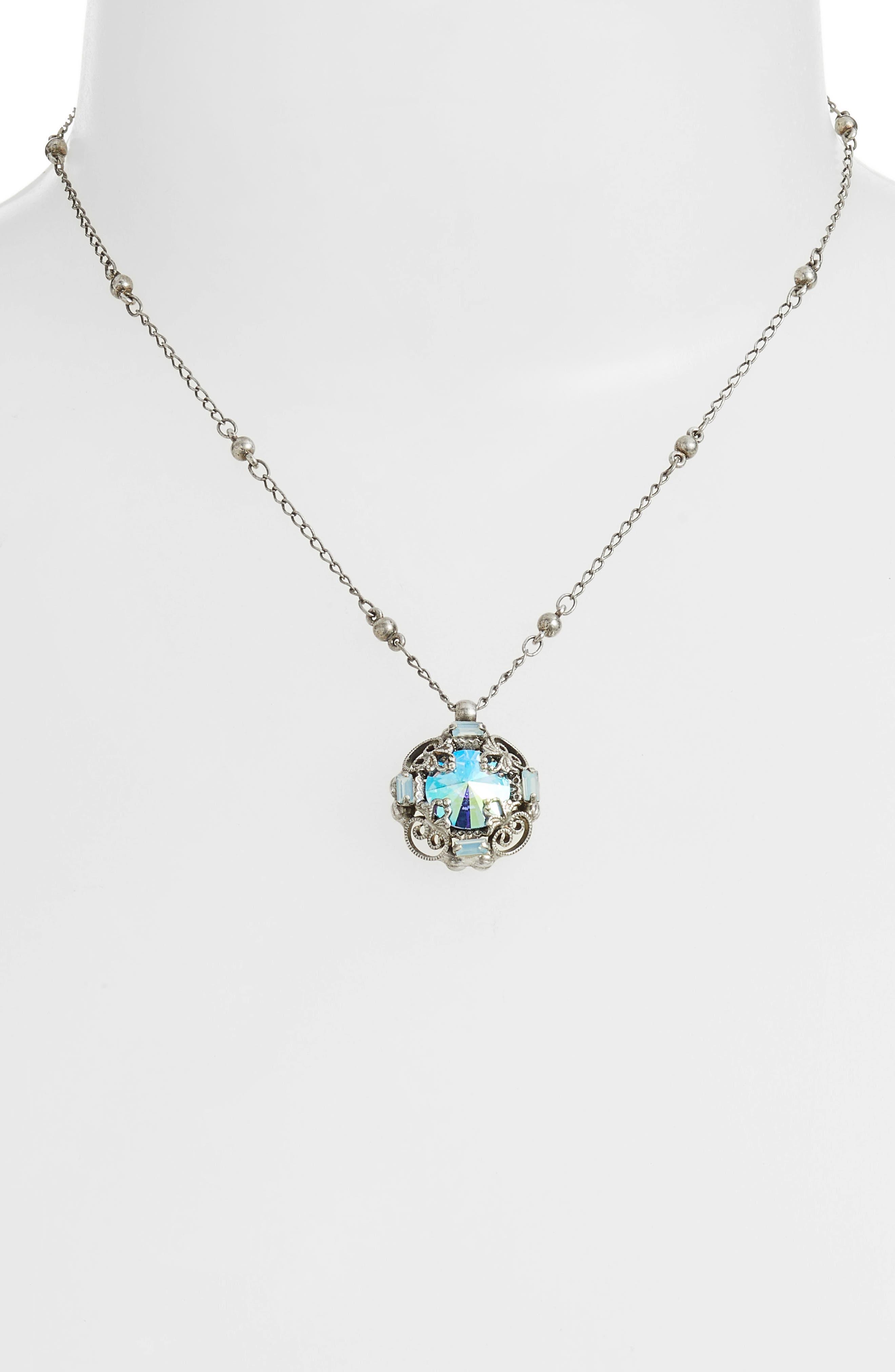 Allium Crystal Necklace,                             Alternate thumbnail 2, color,                             Blue-Green