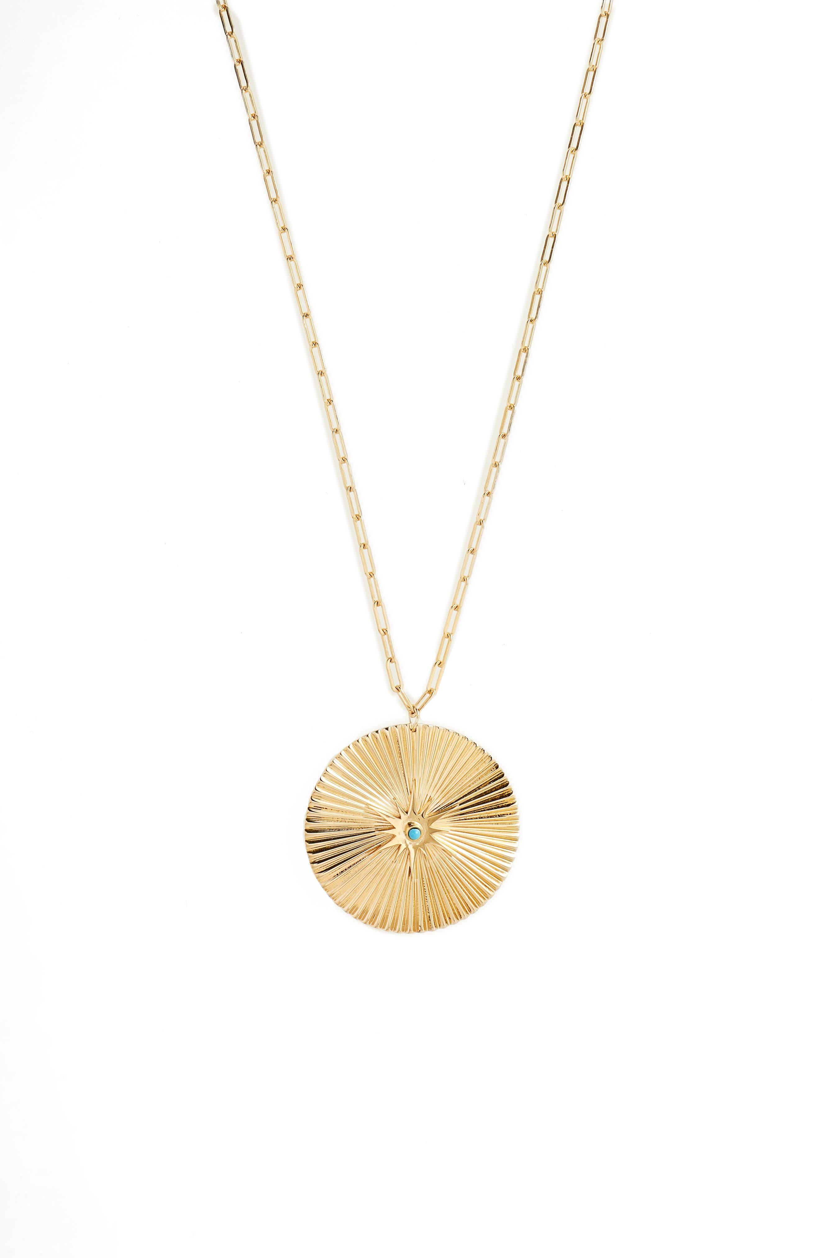 Iris Durango Turquoise Pendant Necklace,                             Alternate thumbnail 2, color,                             Yellow Vermeil