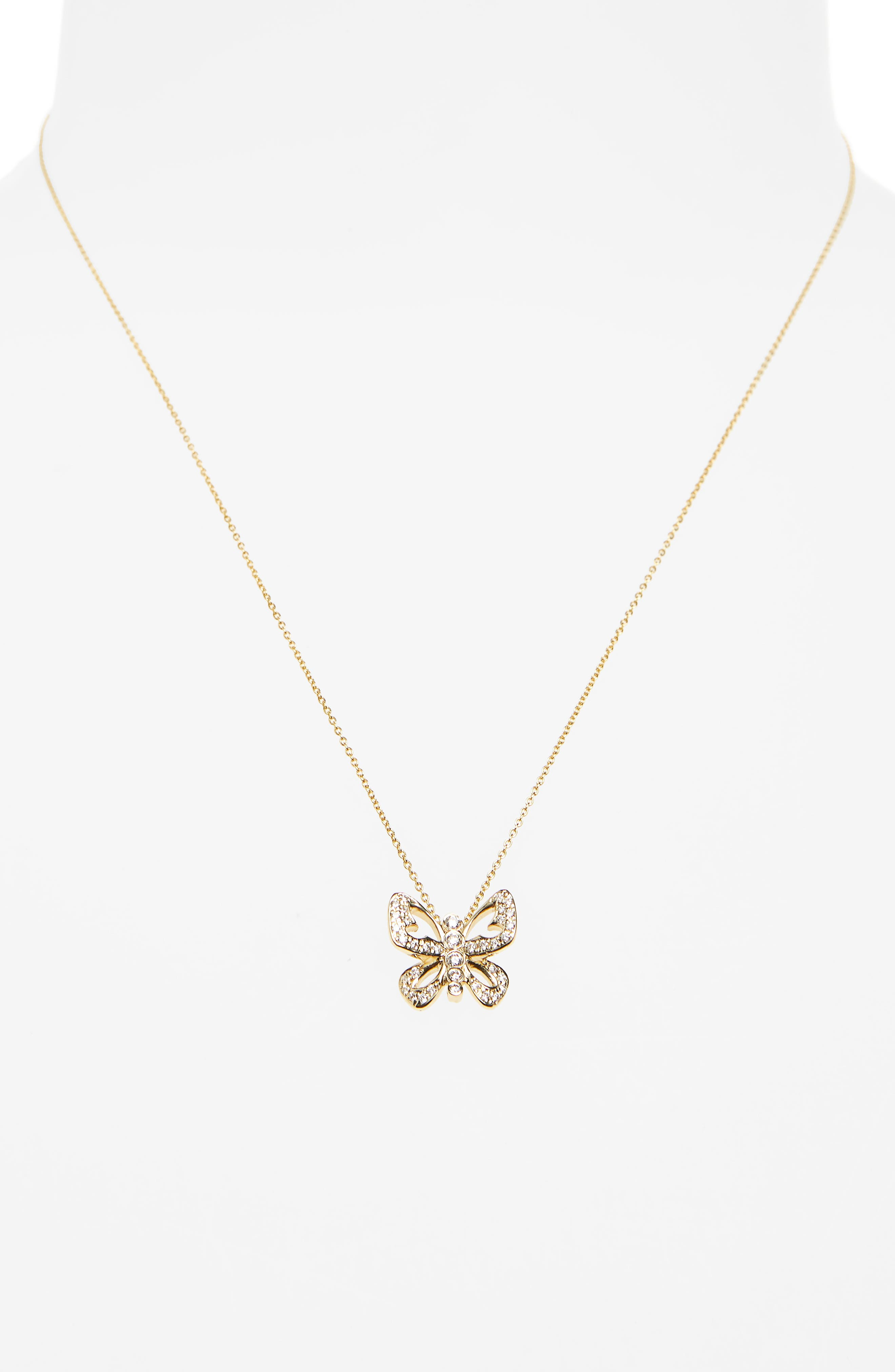 Diamond Butterfly Pendant Necklace,                             Alternate thumbnail 2, color,                             Yellow Gold