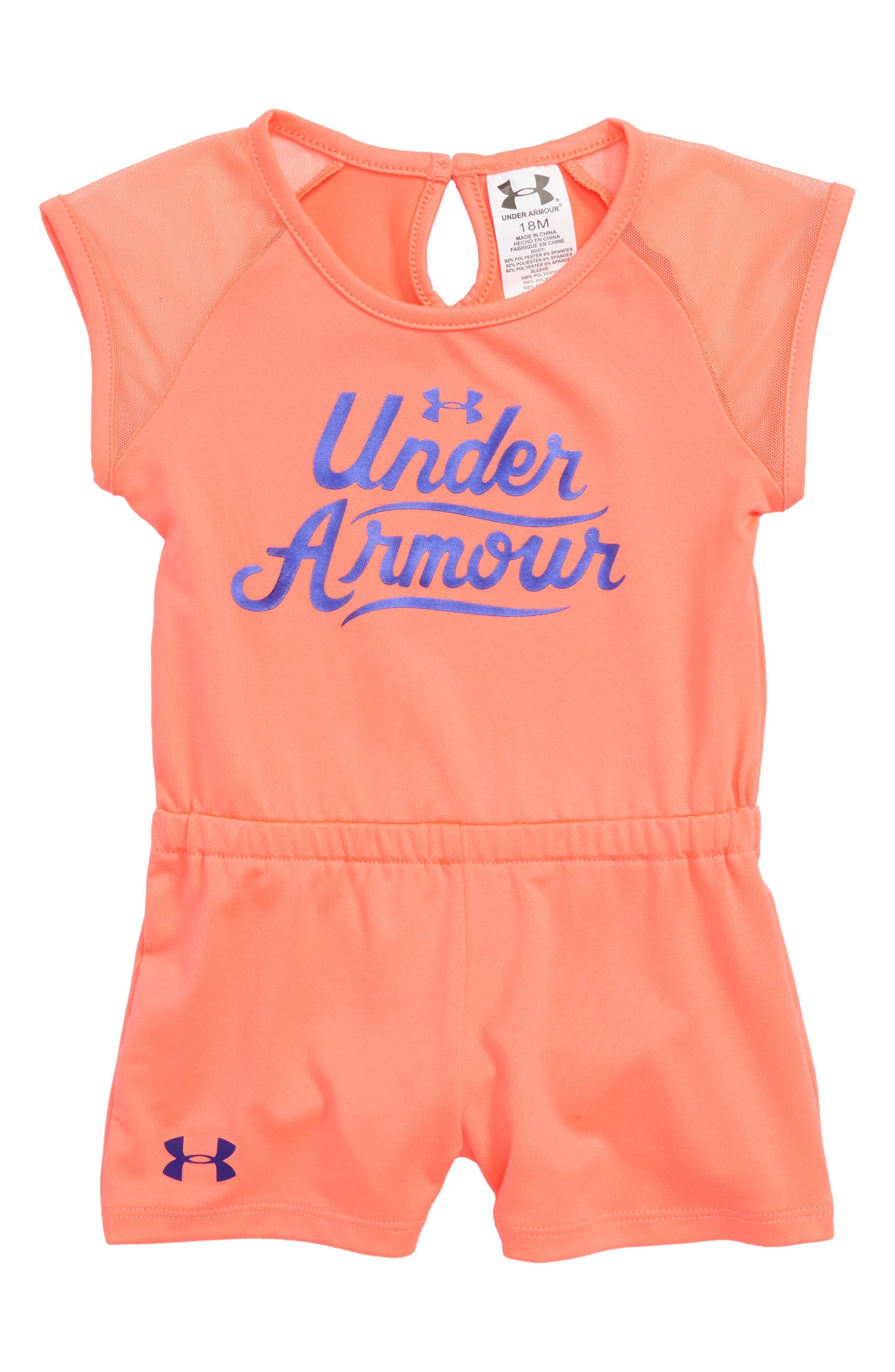 Under Armour Summer Script Logo HeatGear® Romper (Baby Girls)