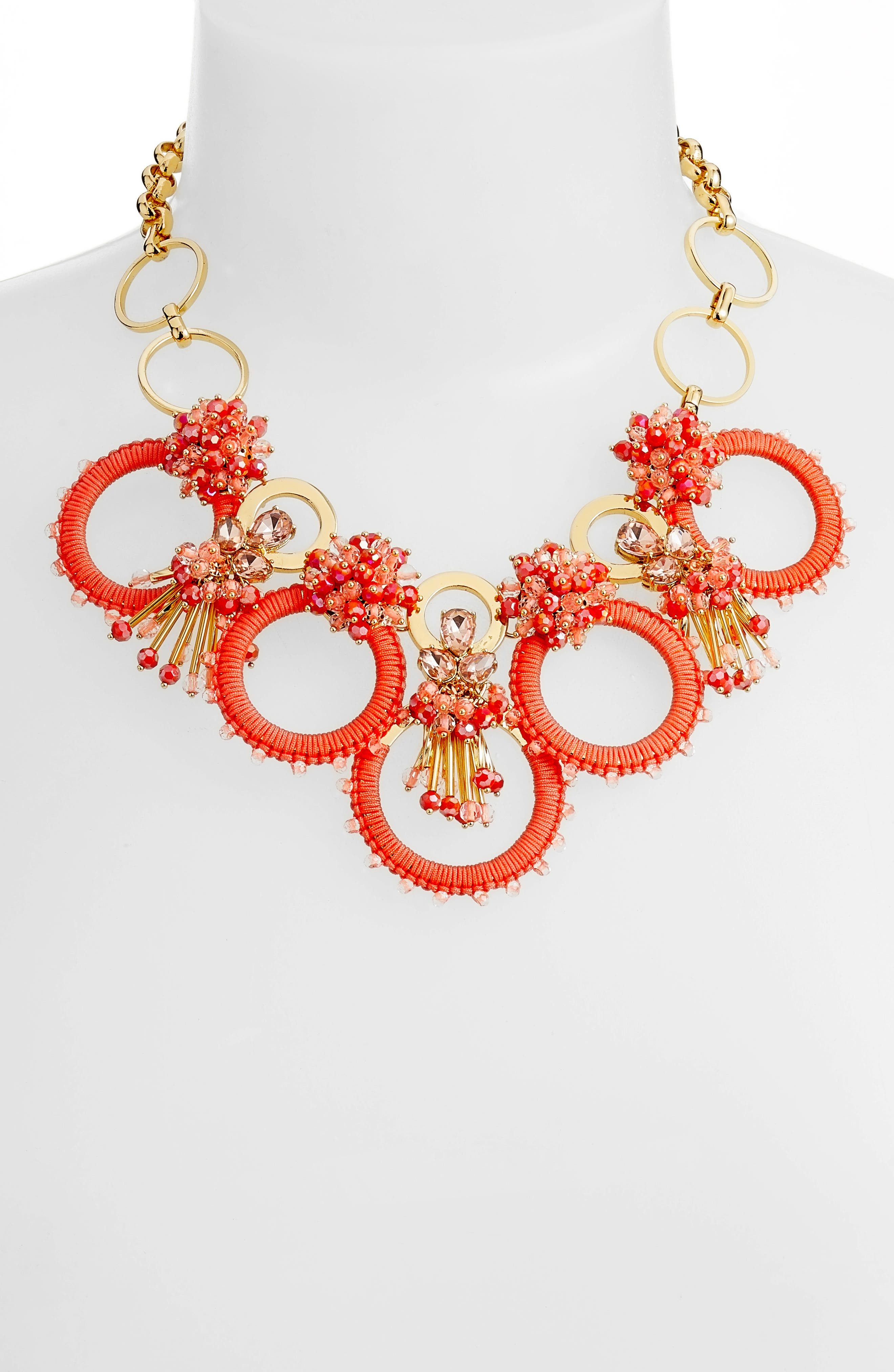 wrap it up statement necklace,                             Alternate thumbnail 2, color,                             Coral Multi