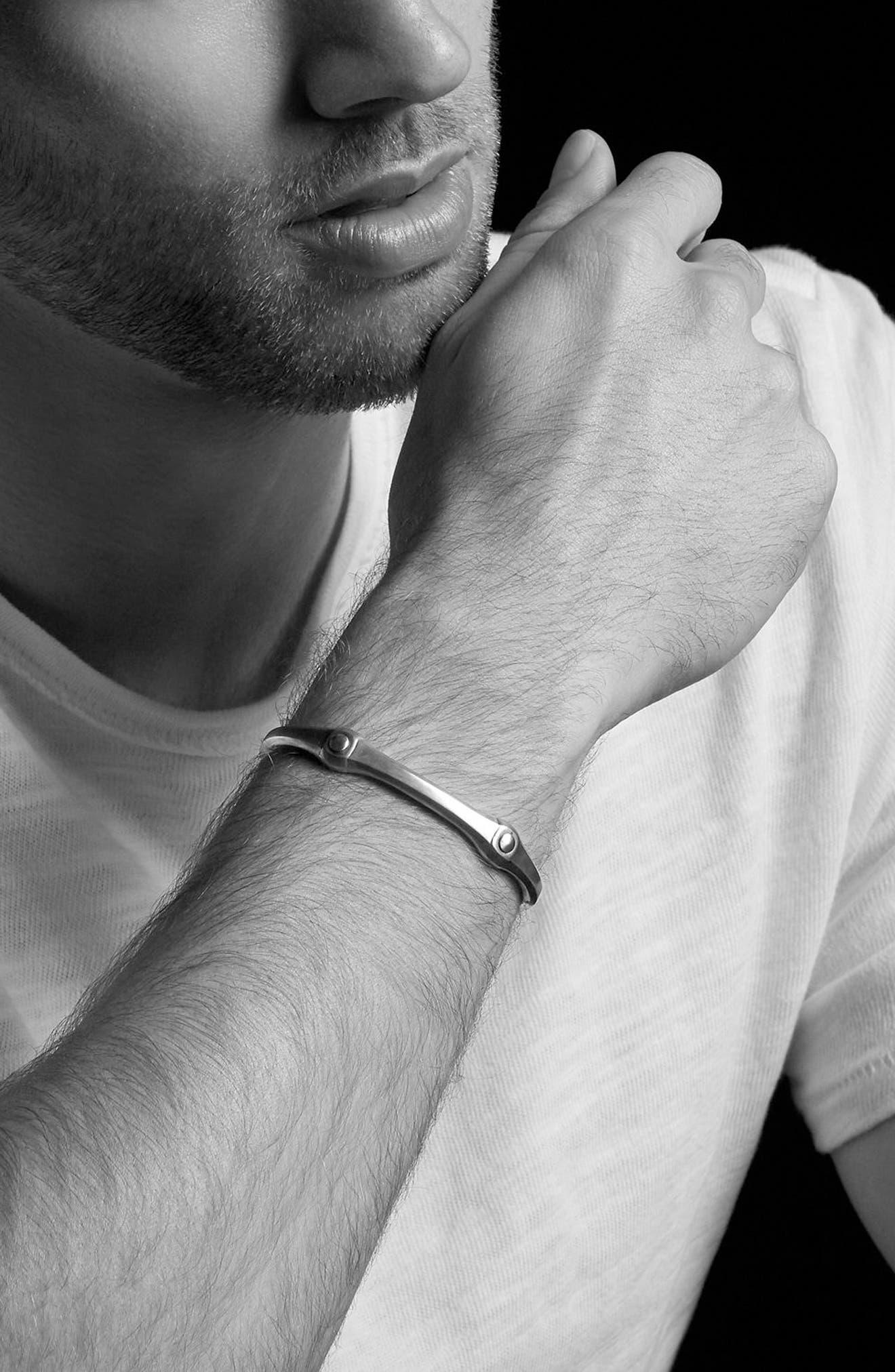 Anvil Cuff Bracelet, 10.5mm,                             Alternate thumbnail 3, color,                             Silver/ Bronze