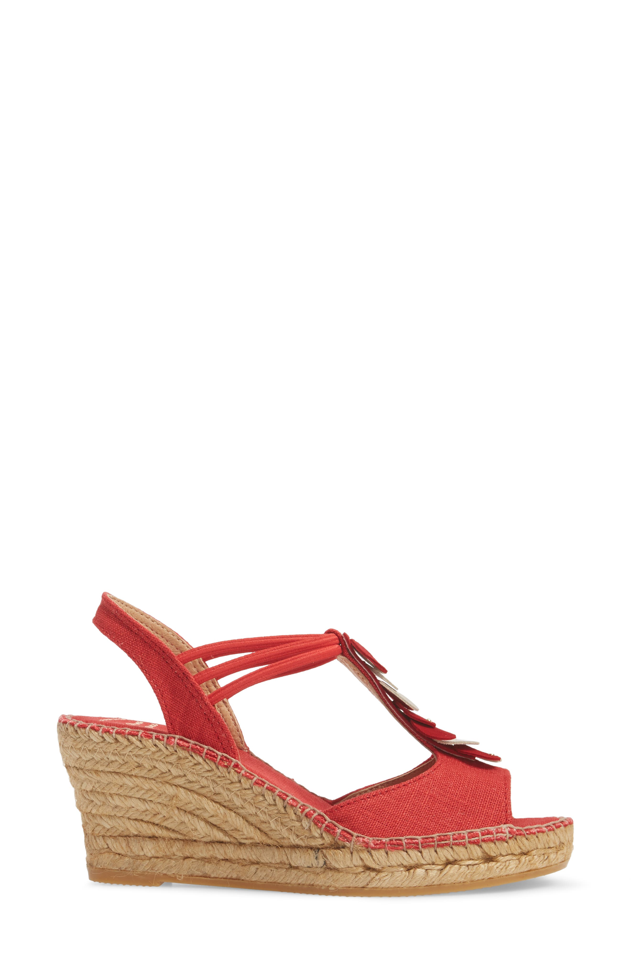 Sitges Espadrille Sandal,                             Alternate thumbnail 3, color,                             Red Fabric