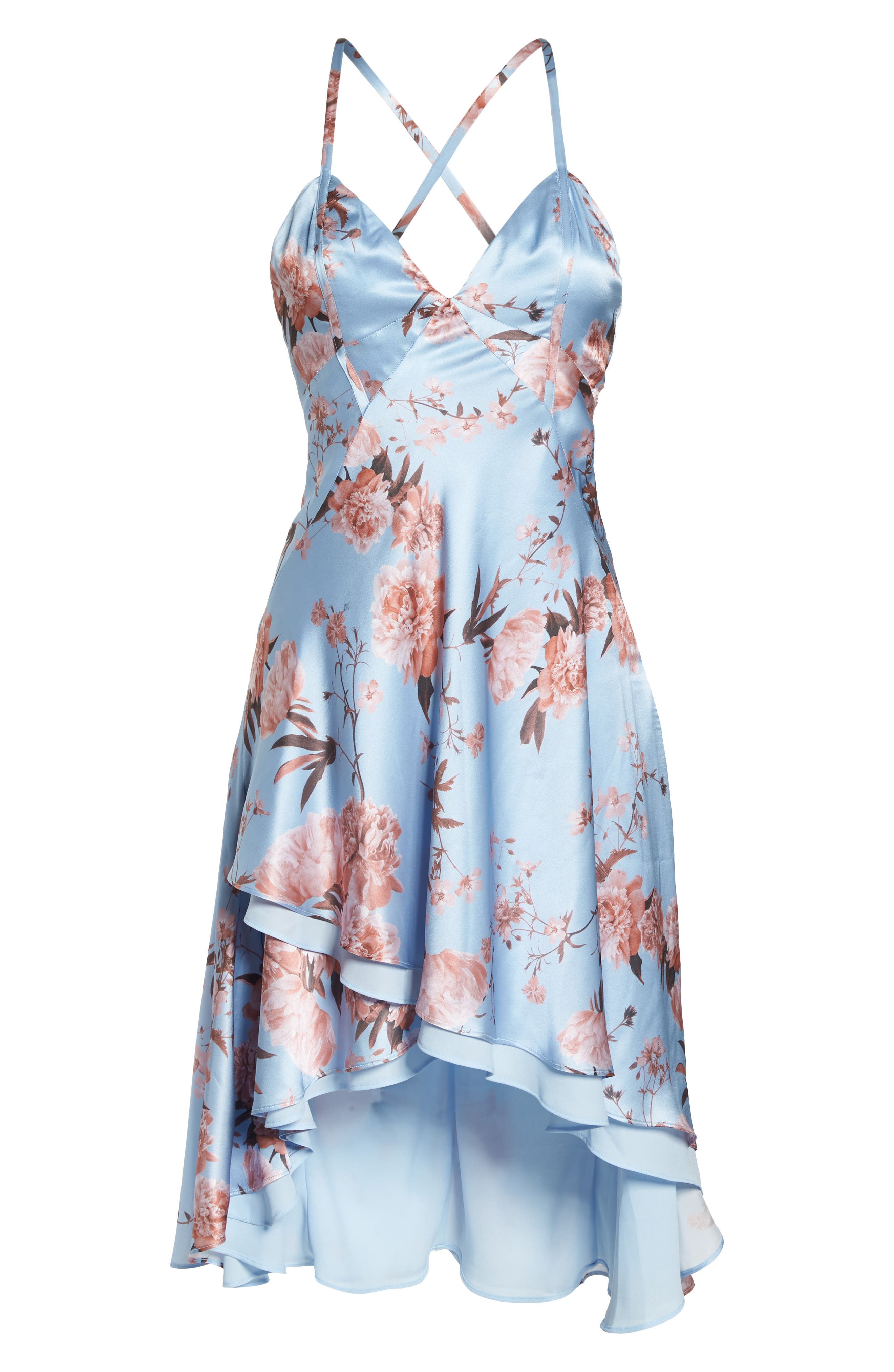 The Farren Floral Silk Dress,                             Alternate thumbnail 6, color,                             Sky Blossom Floral