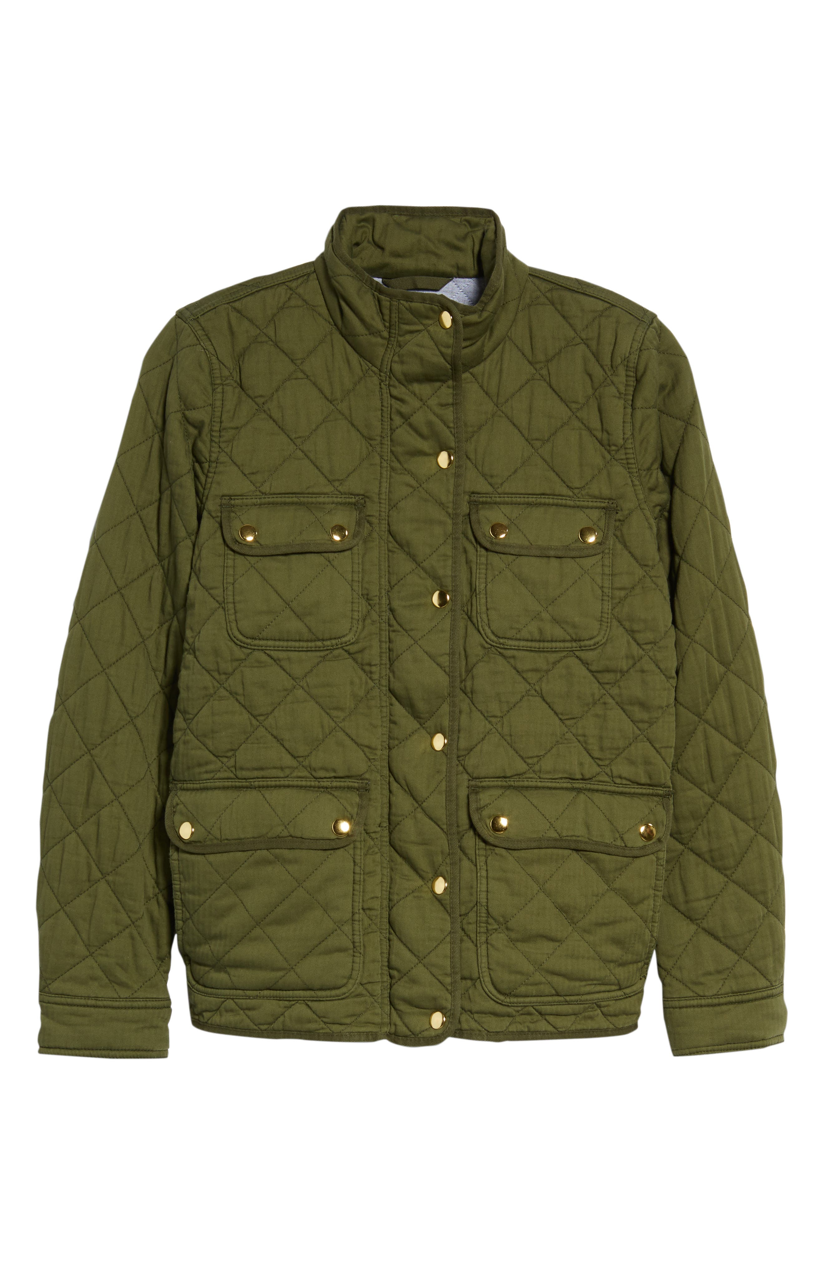 Quilted Downtown Field Jacket,                             Alternate thumbnail 6, color,                             Deep Moss