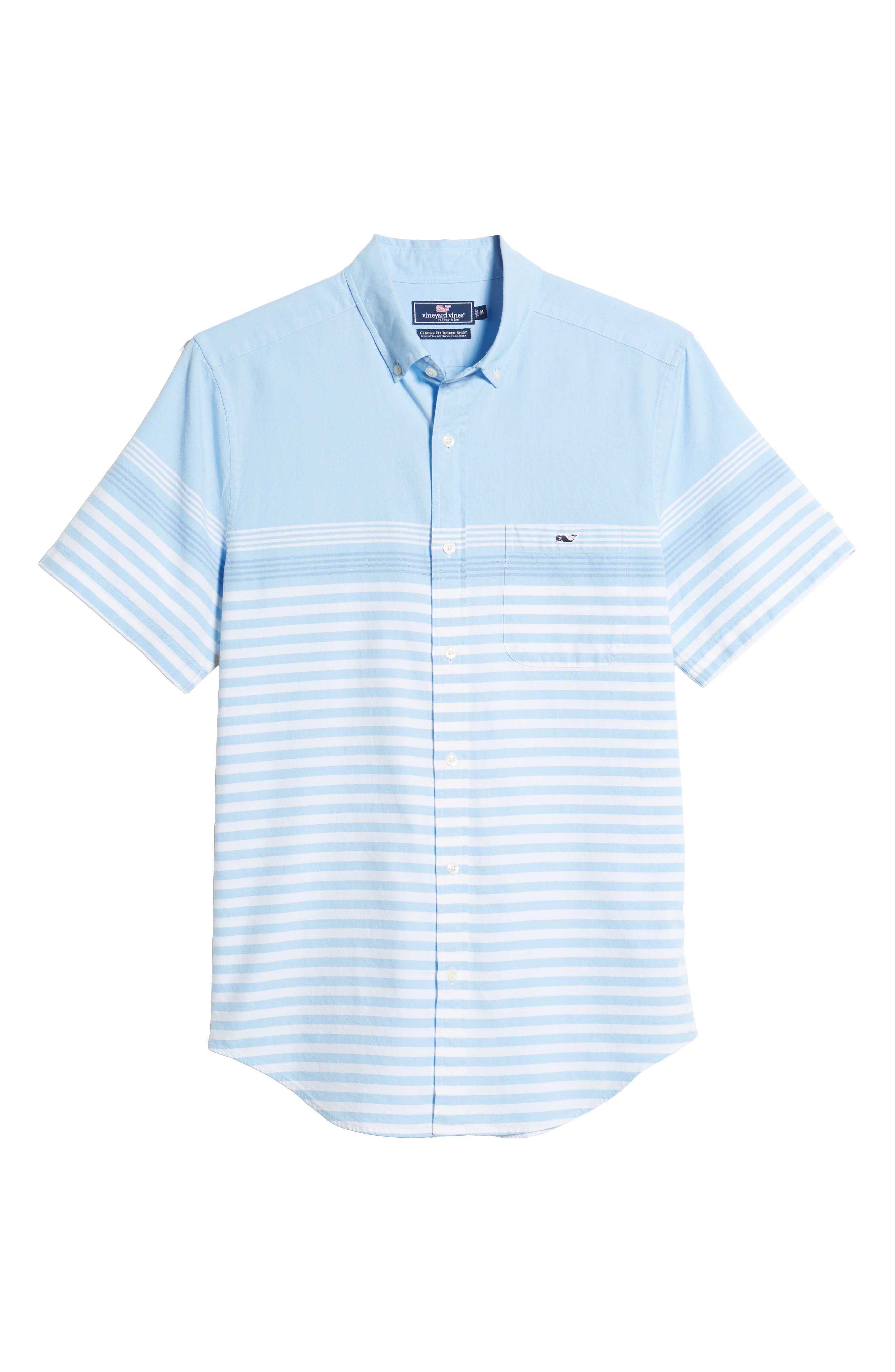 Sea Mist Stretch Short Sleeve Sport Shirt,                             Alternate thumbnail 6, color,                             Ocean Breeze