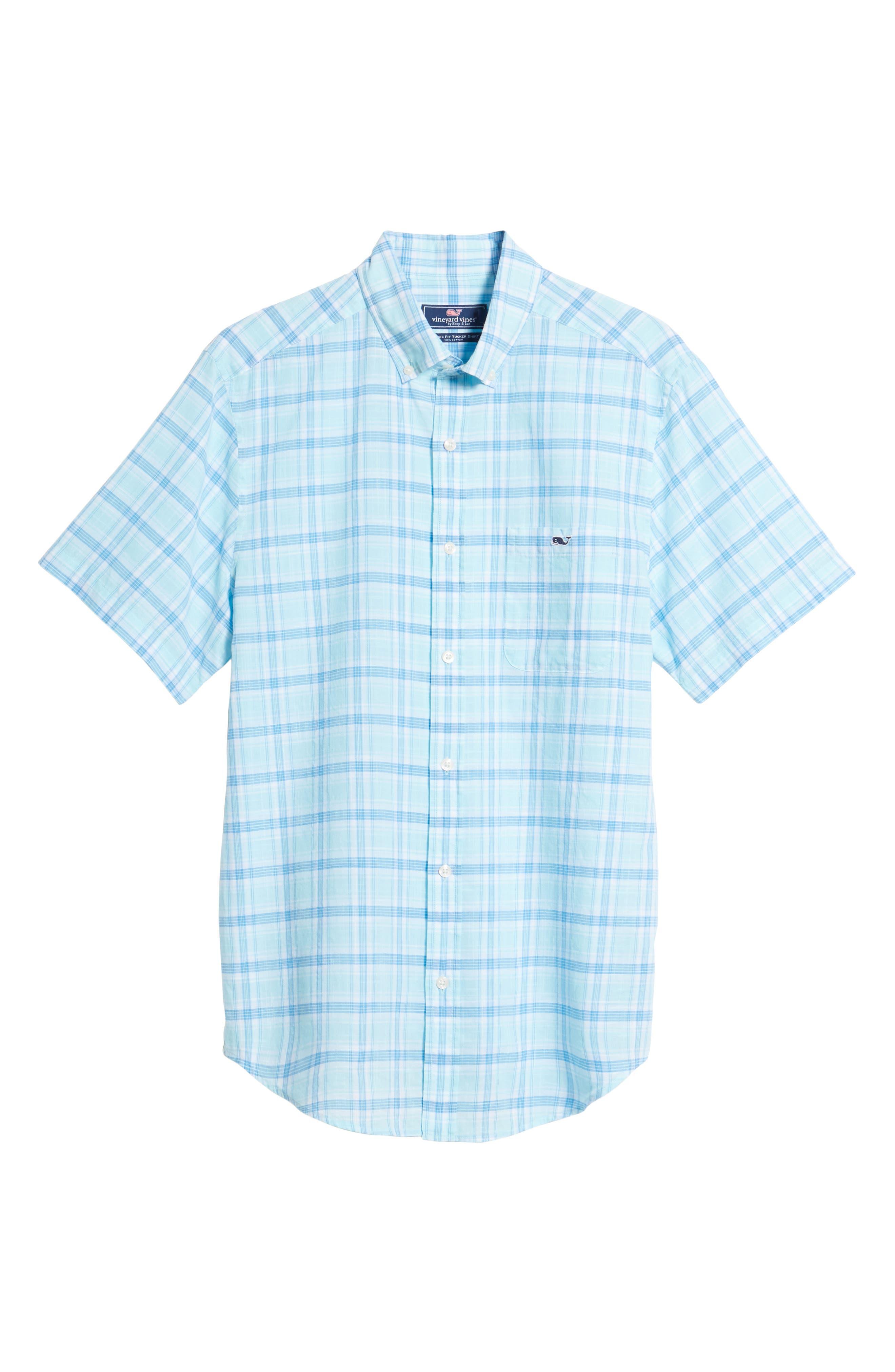 Pleasant Bay Classic Fit Plaid Sport Shirt,                             Alternate thumbnail 6, color,                             Pool Side