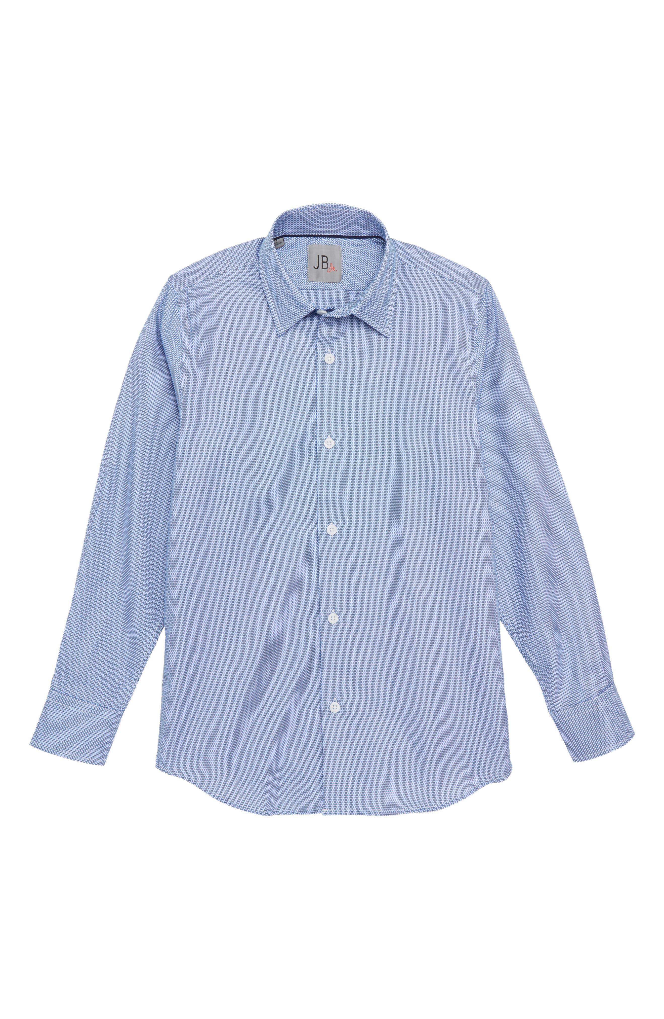 Print Dress Shirt,                         Main,                         color, Blue