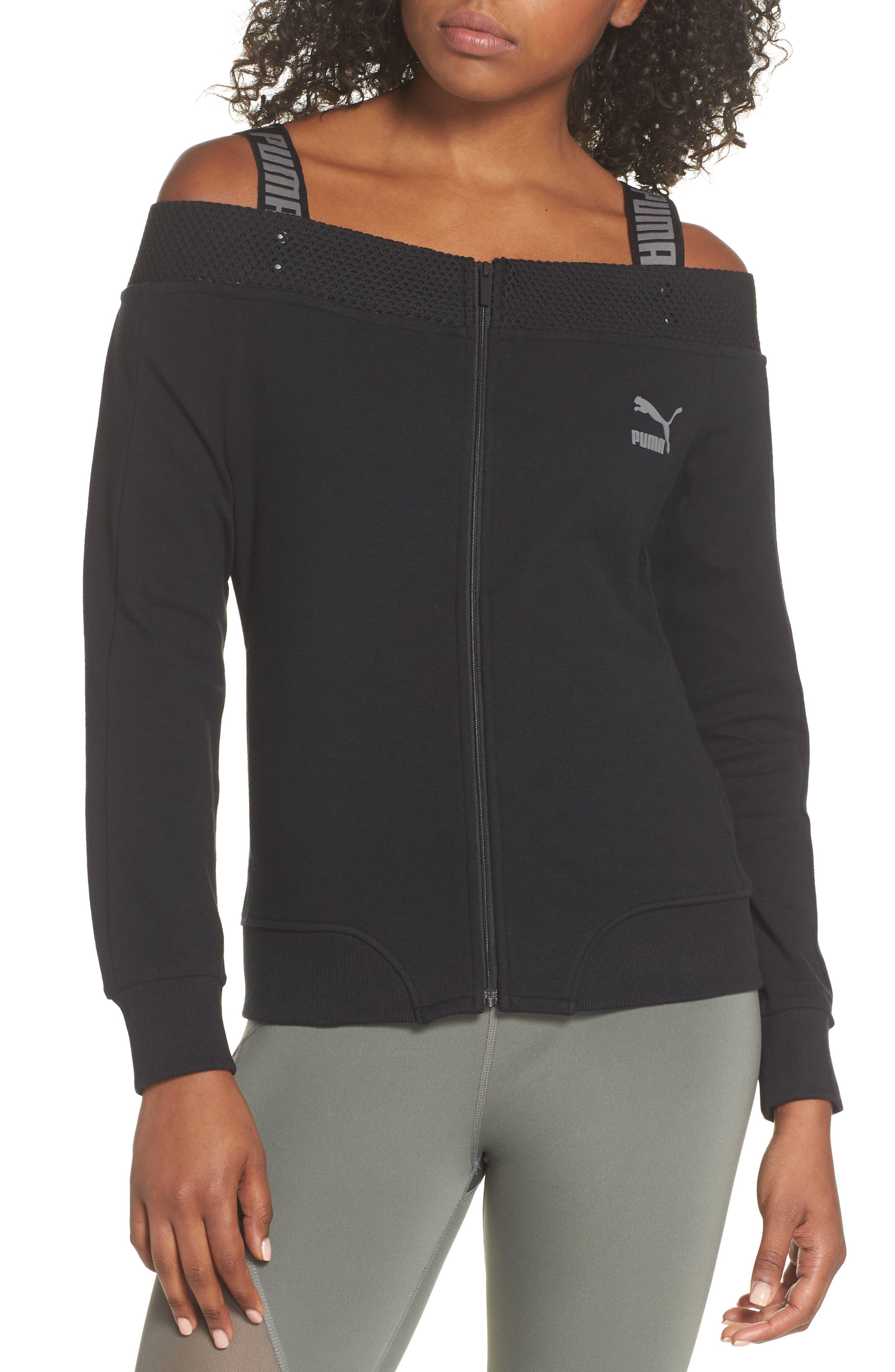 T7 Cold Shoulder Jacket,                         Main,                         color, Puma Black