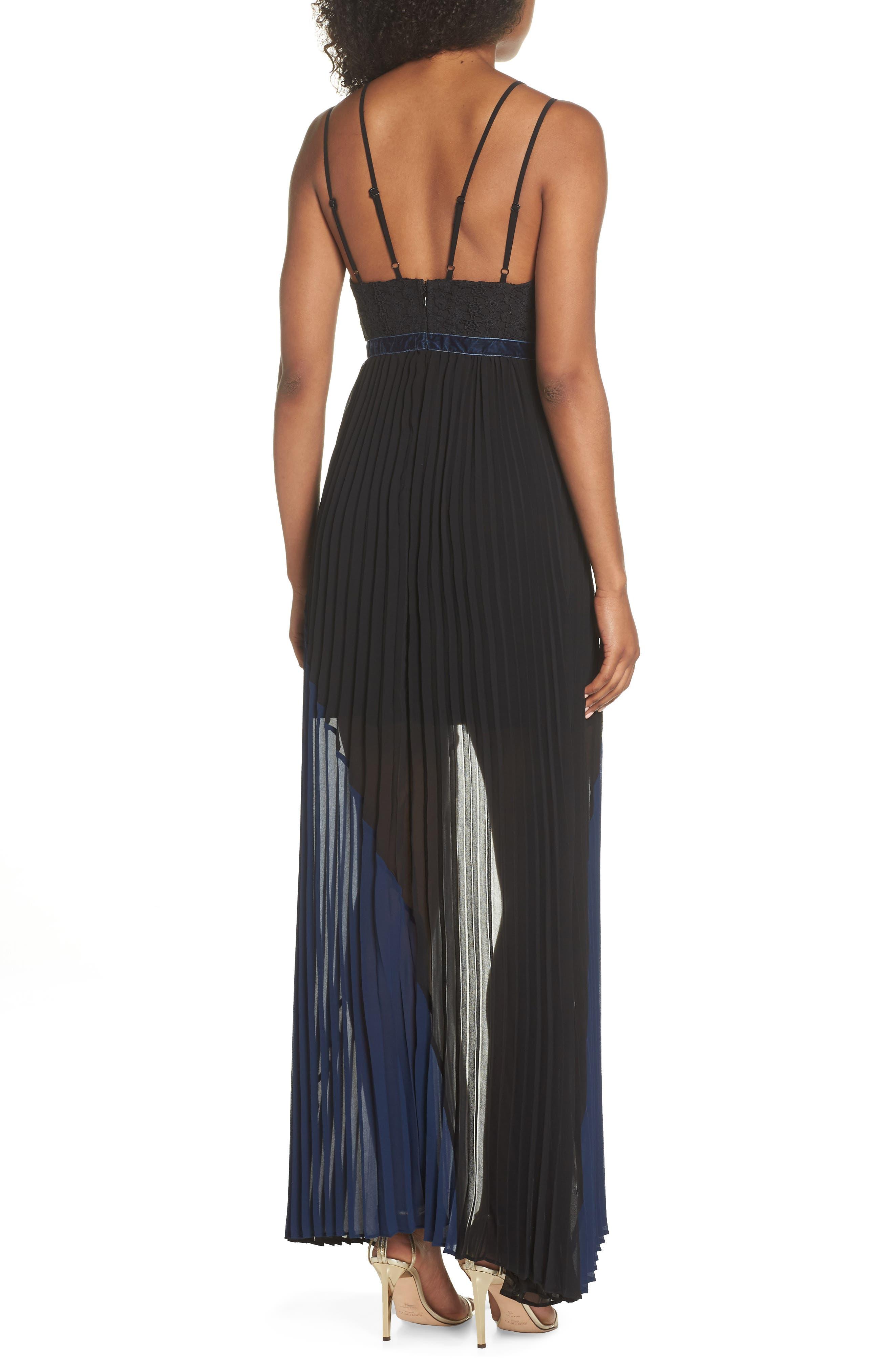 Nealea Pleat Chiffon Gown,                             Alternate thumbnail 3, color,                             Black/ Navy