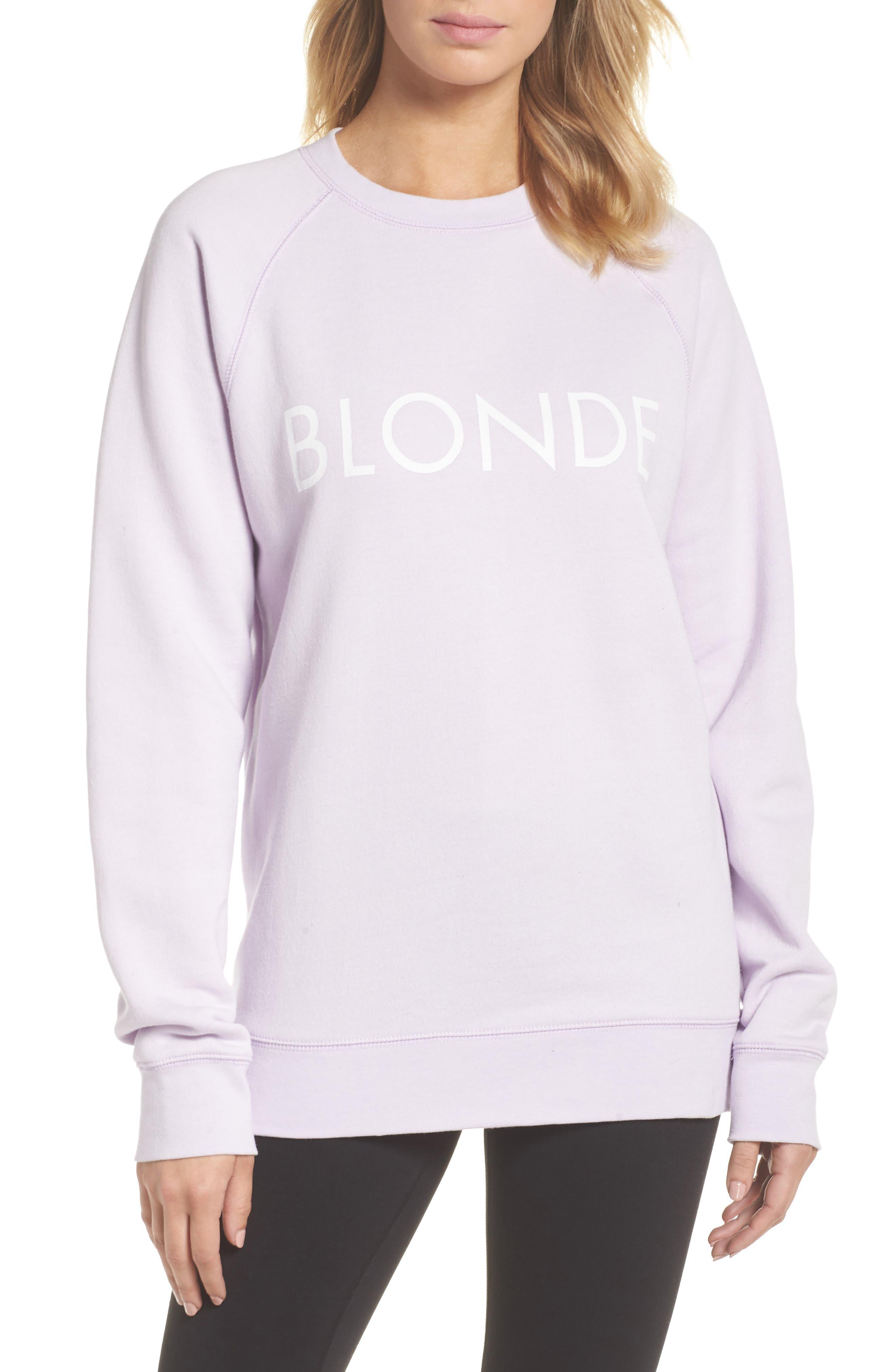 Blonde Sweatshirt,                         Main,                         color, Soft Lavender