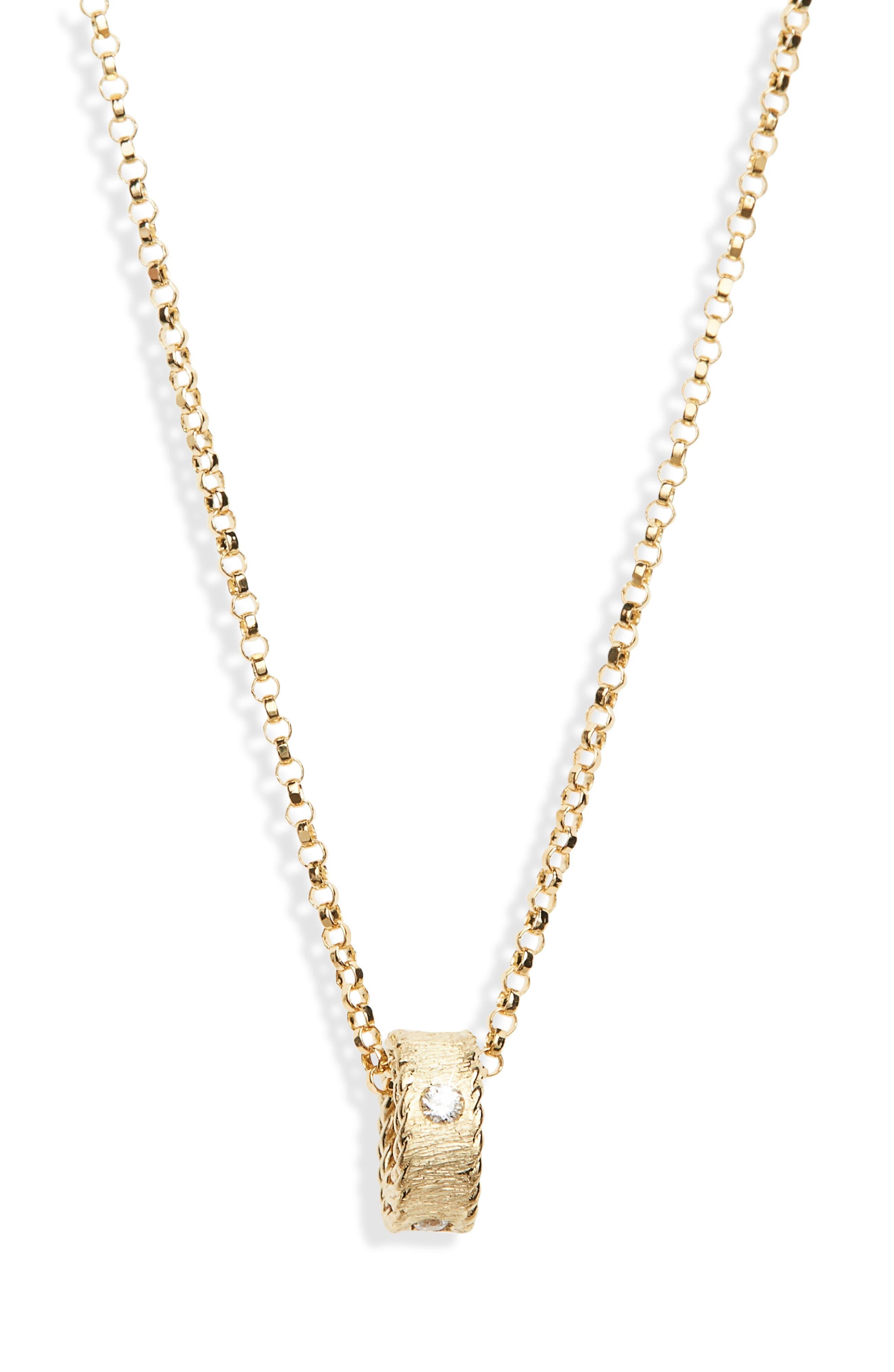 Diamond Princess Pendant Necklace,                         Main,                         color, Yellow Gold