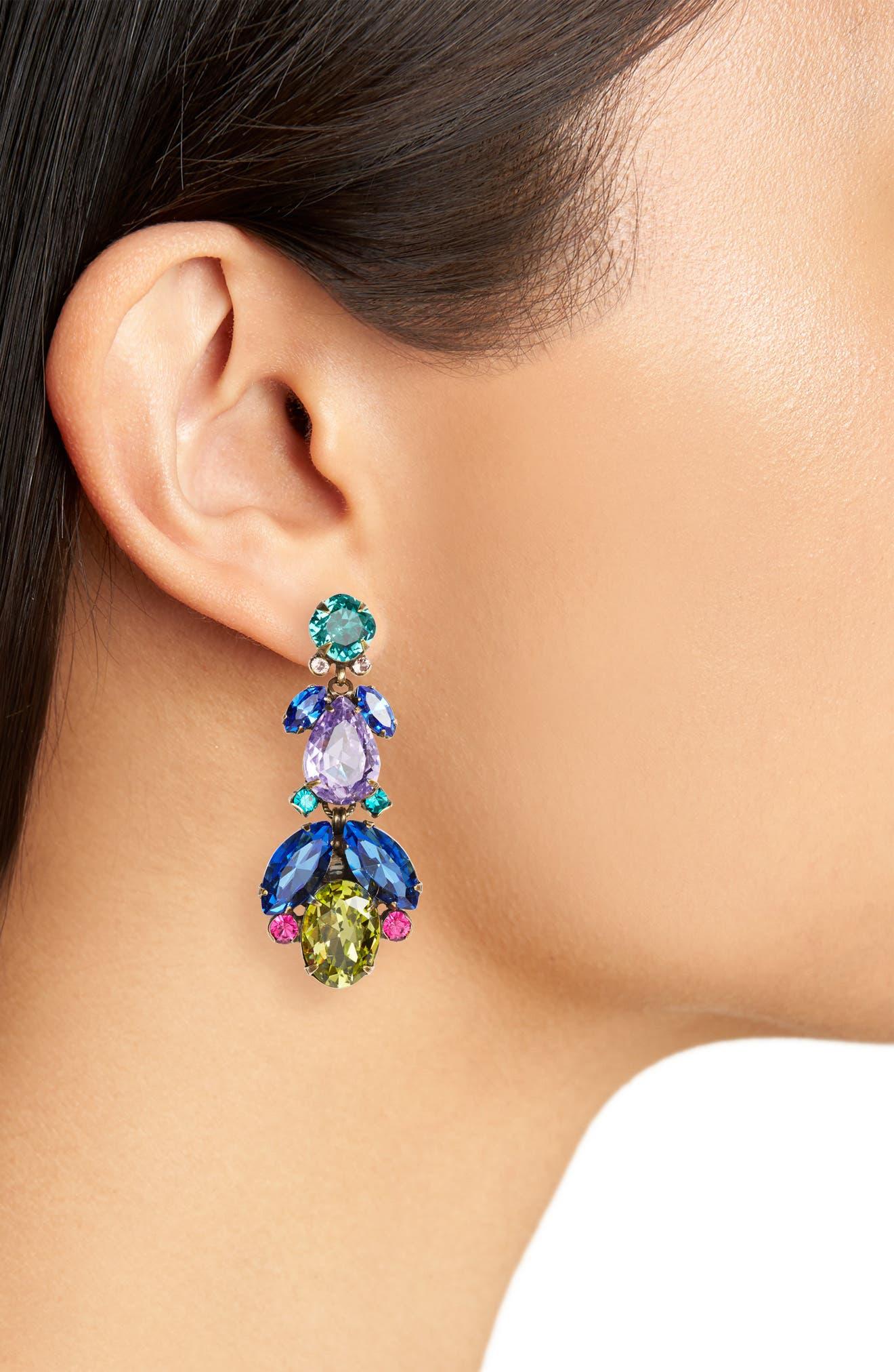 Pine Crystal Drop Earrings,                             Alternate thumbnail 2, color,                             Blue Multi