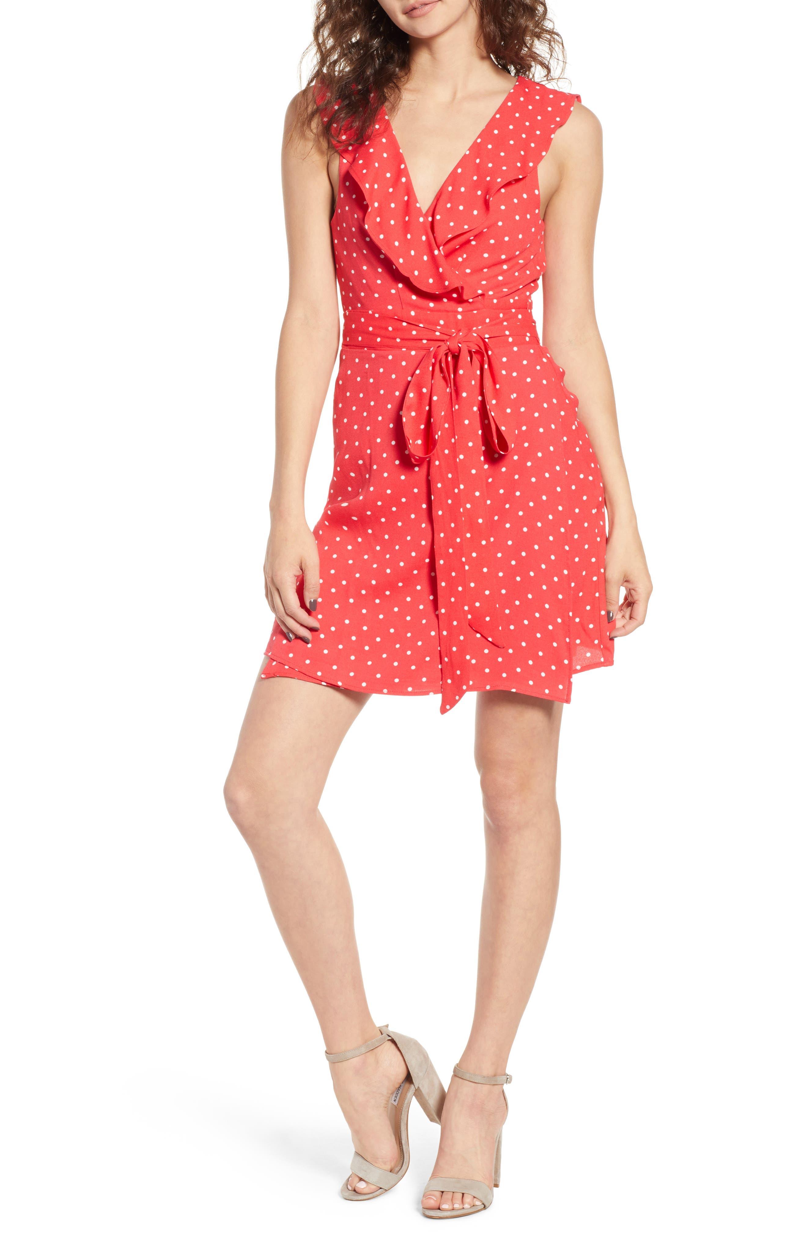 Jess Wrap Dress,                         Main,                         color, Red Polka Dot