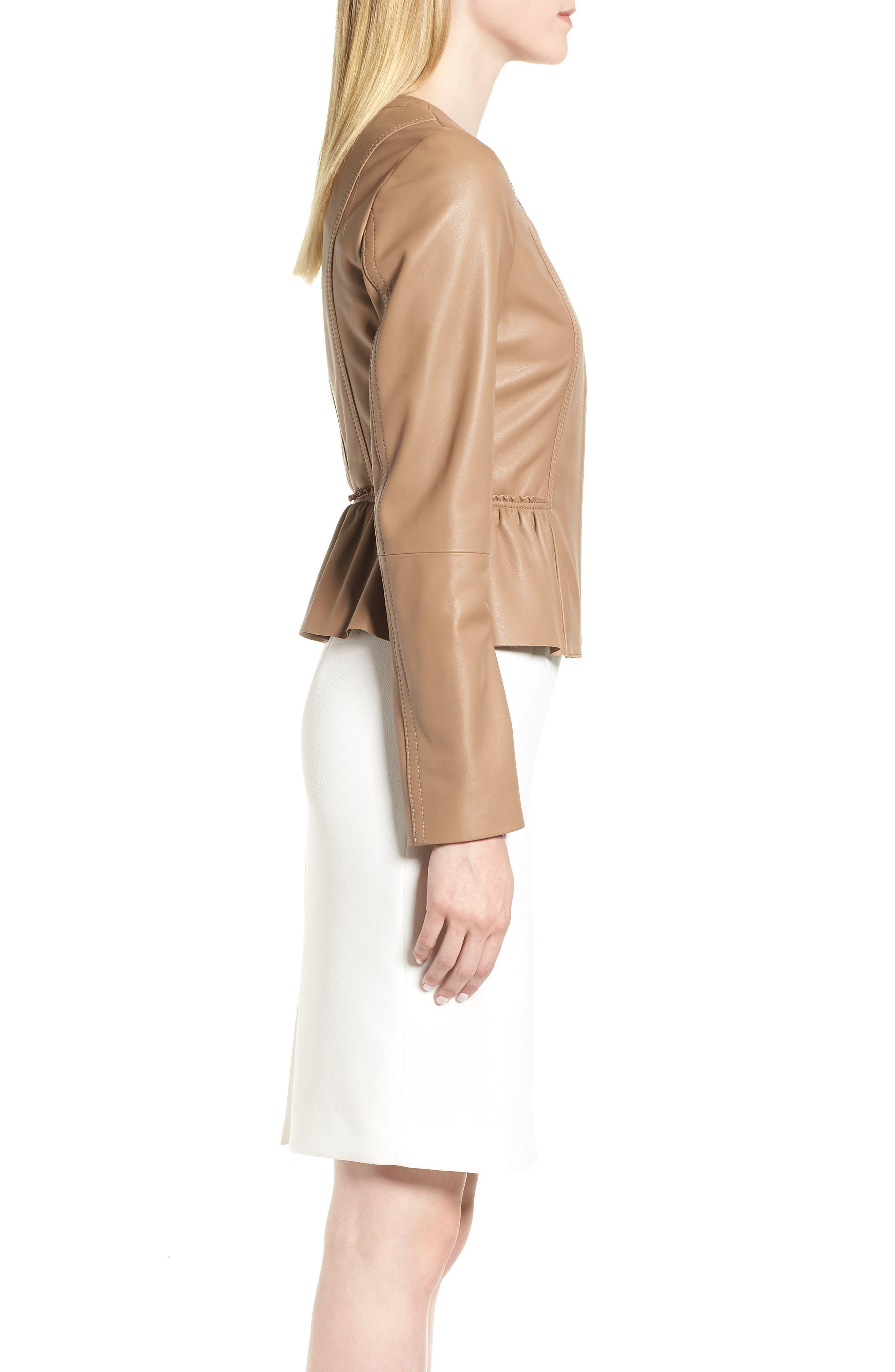 Sahota Leather Jacket,                             Alternate thumbnail 3, color,                             Warm Clay