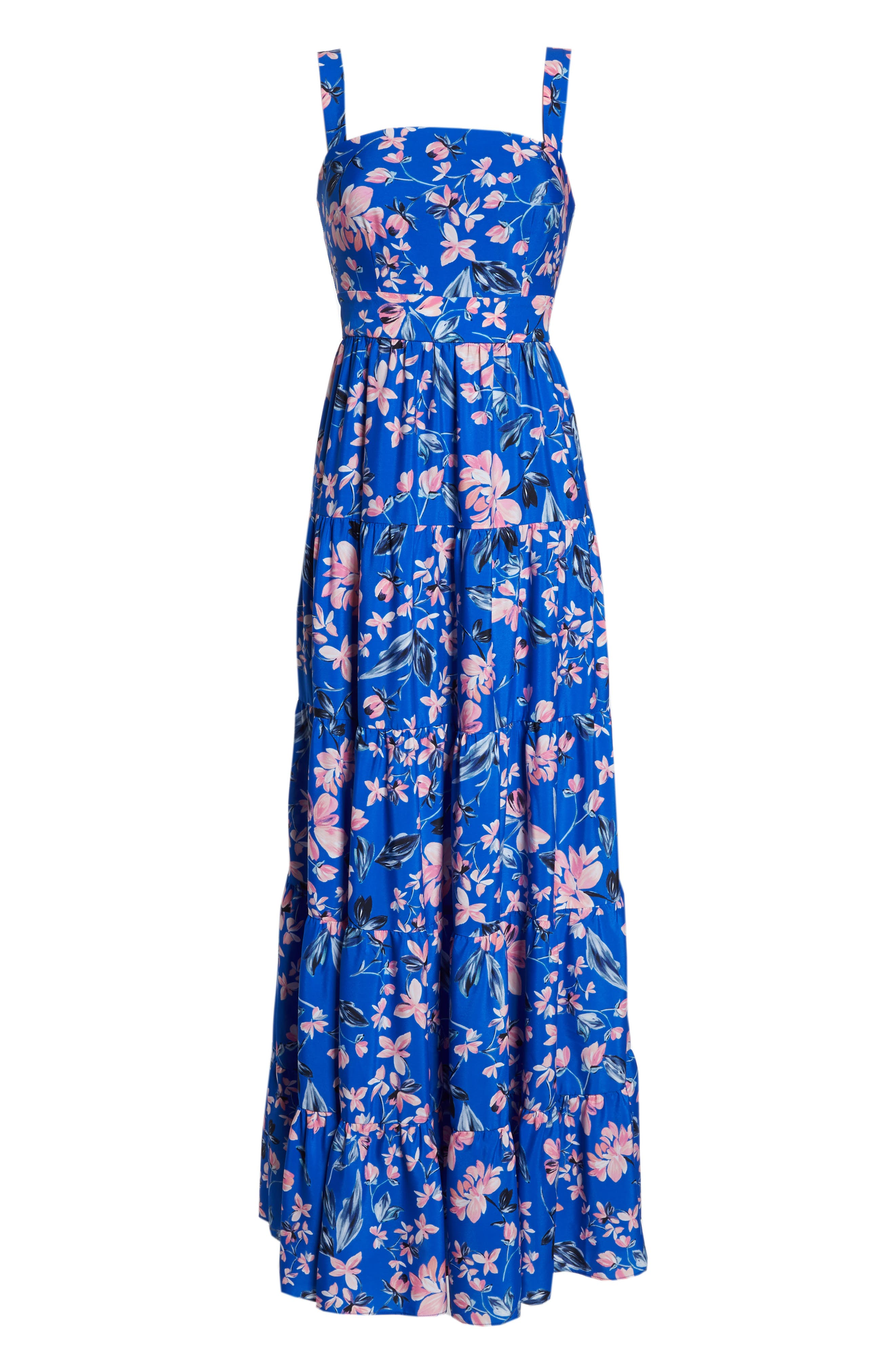 Floral Tiered Maxi Dress,                             Alternate thumbnail 7, color,                             Cobalt