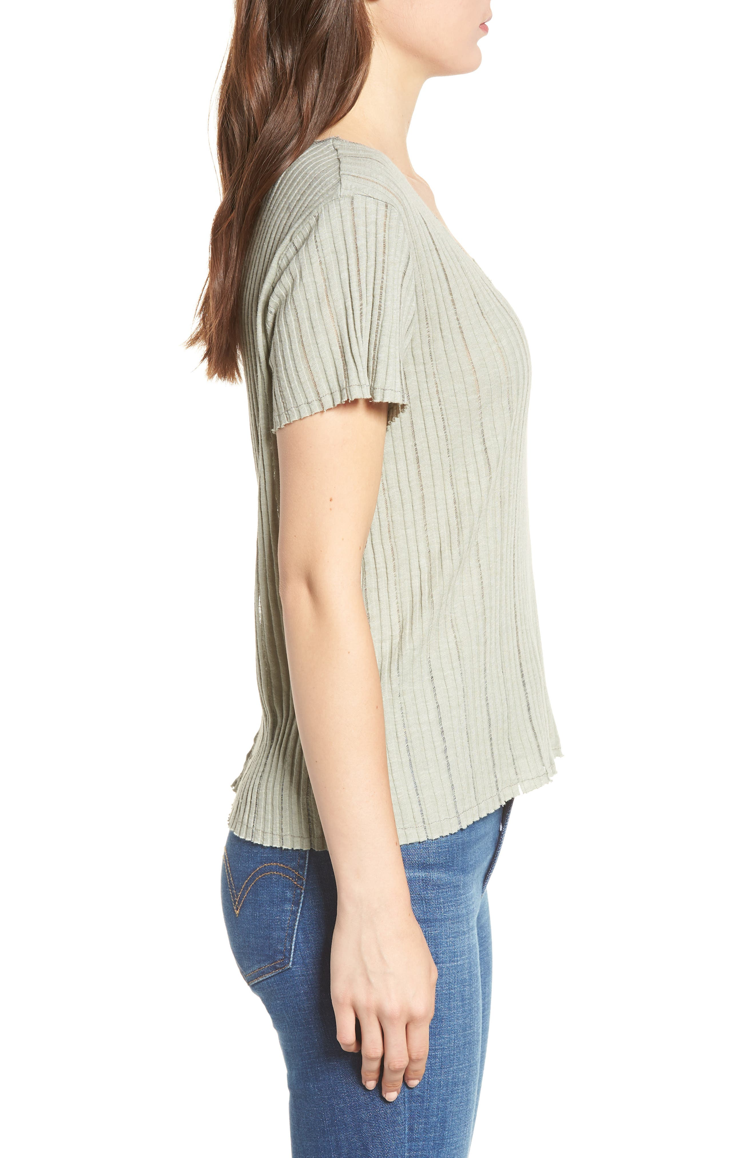 Ribbed Tee,                             Alternate thumbnail 3, color,                             Moss