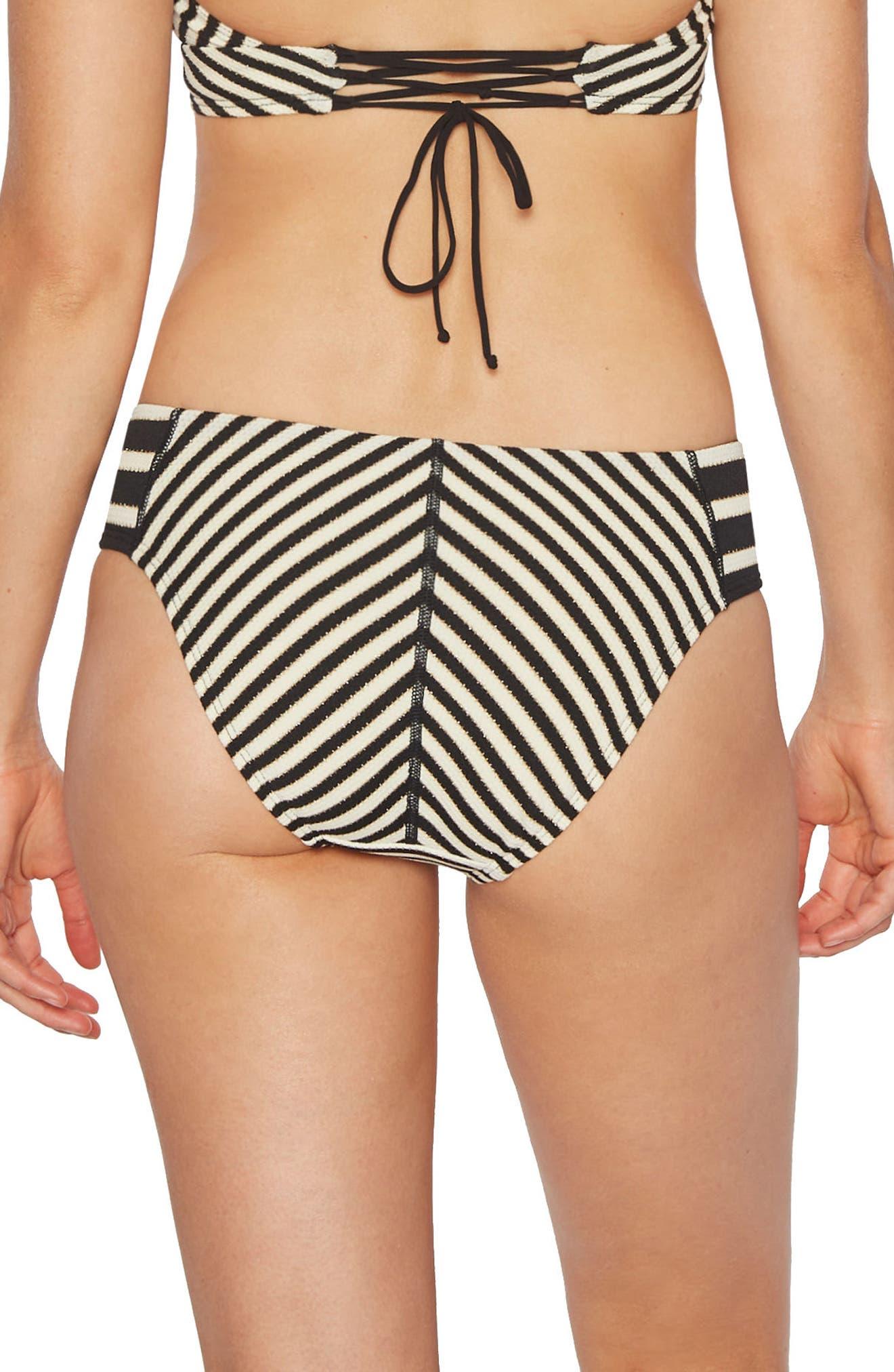 Carmen Stripe Bikini Bottoms,                             Alternate thumbnail 2, color,                             Black Ivory