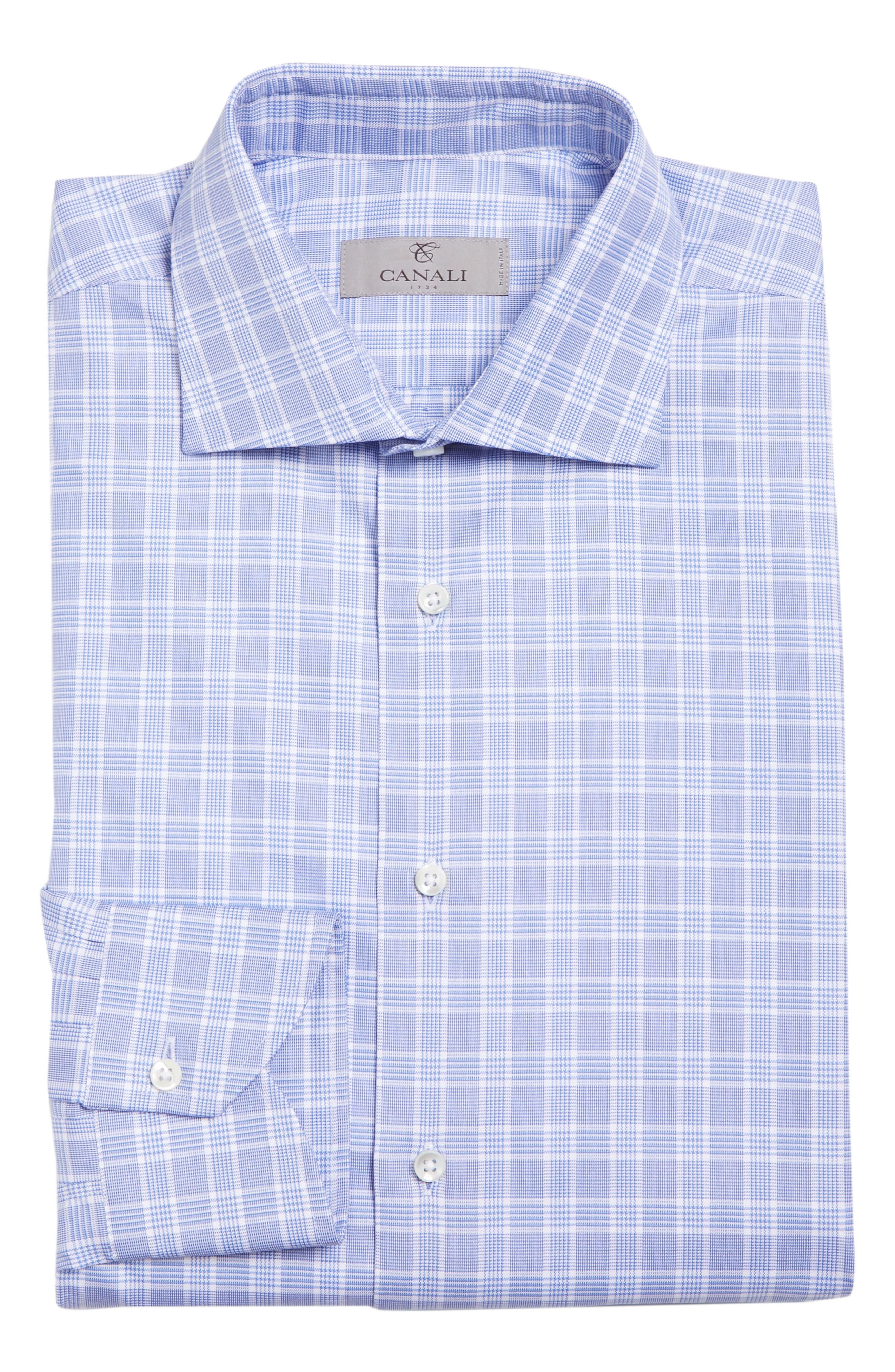 Regular Fit Check Dress Shirt,                             Alternate thumbnail 6, color,                             Brt Blue