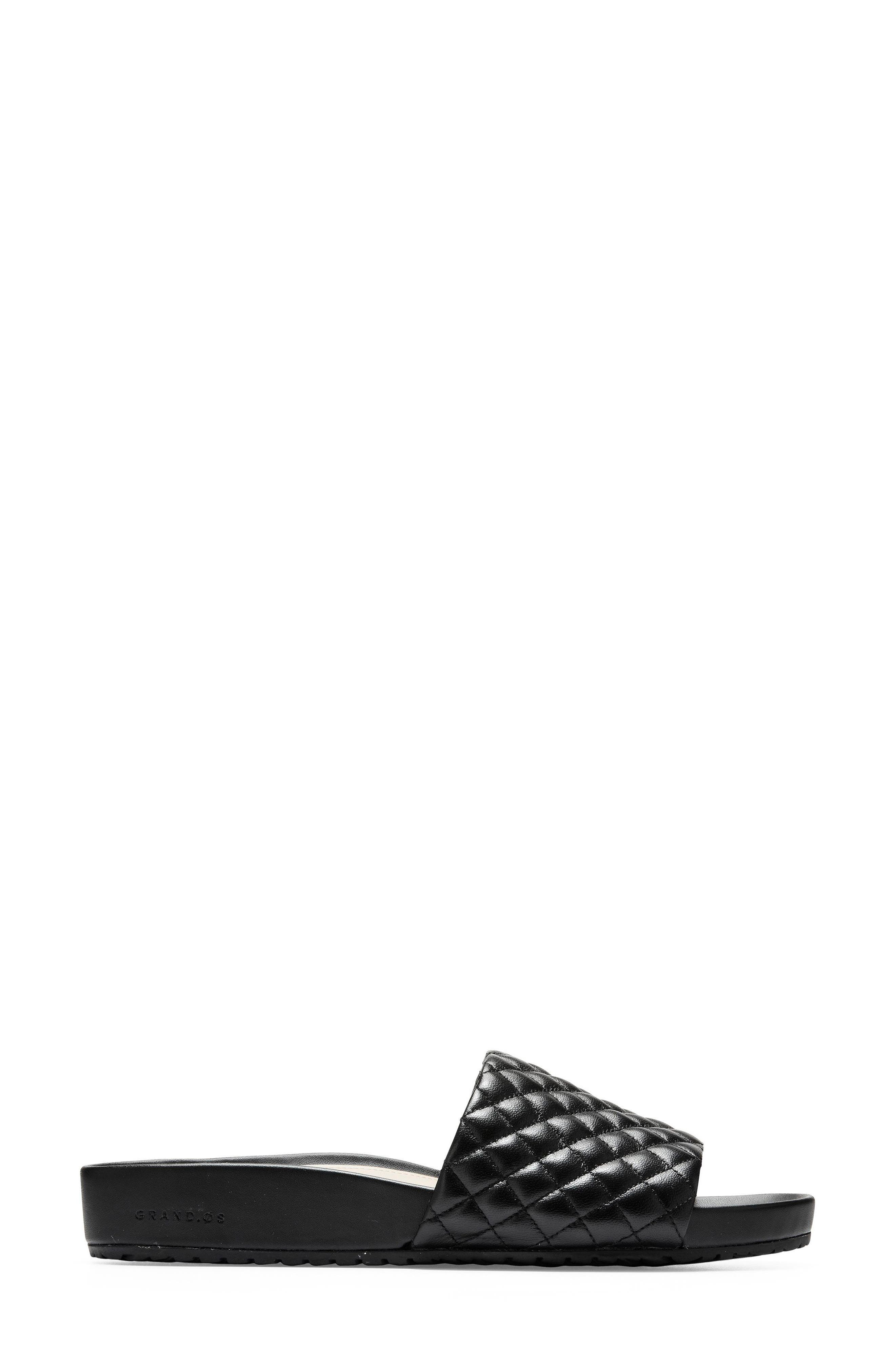 Pinch Montauk Slide Sandal,                             Alternate thumbnail 3, color,                             Black Quilted Leather