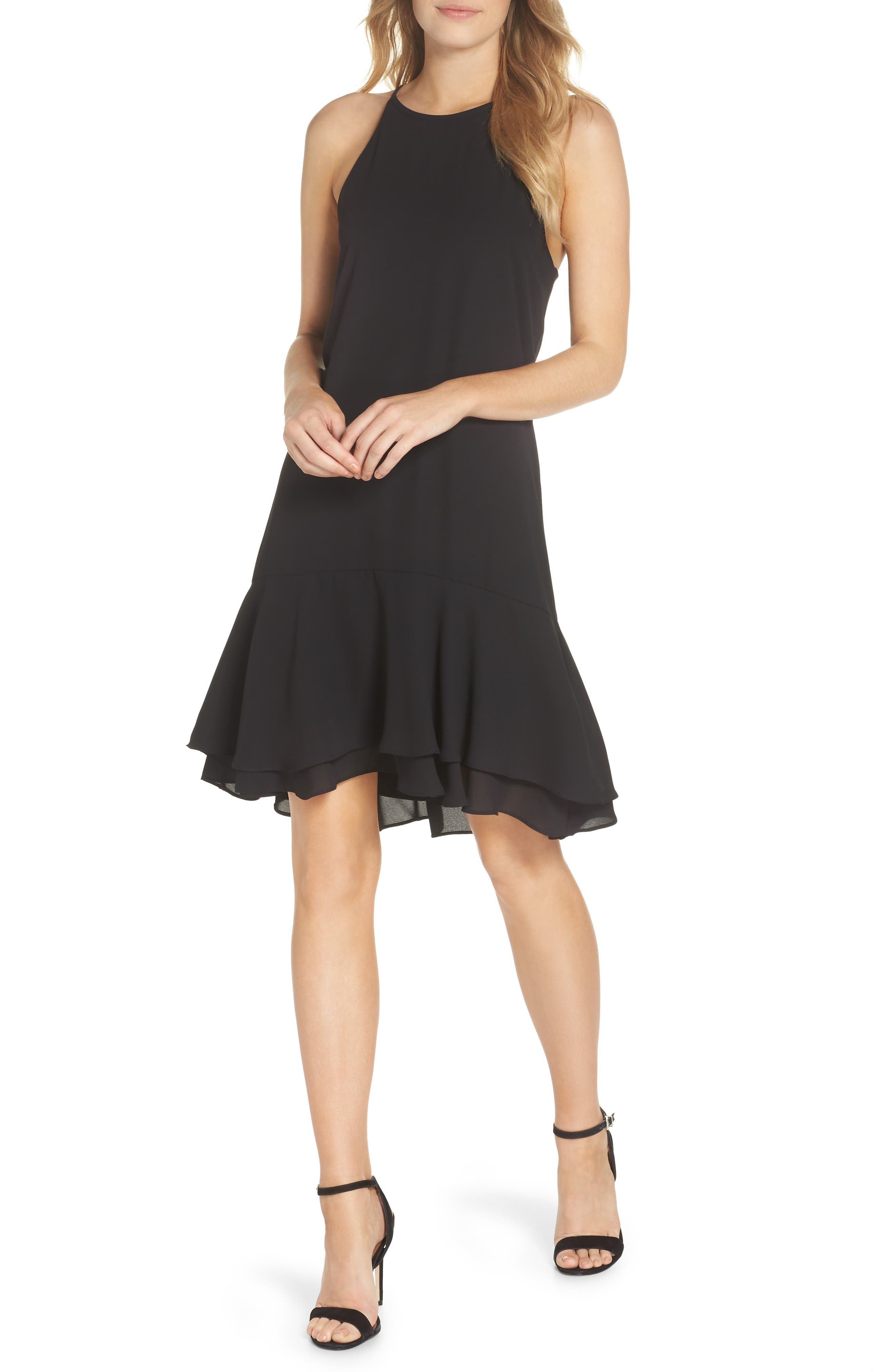 CHARLES HENRY TIERED SHIFT DRESS