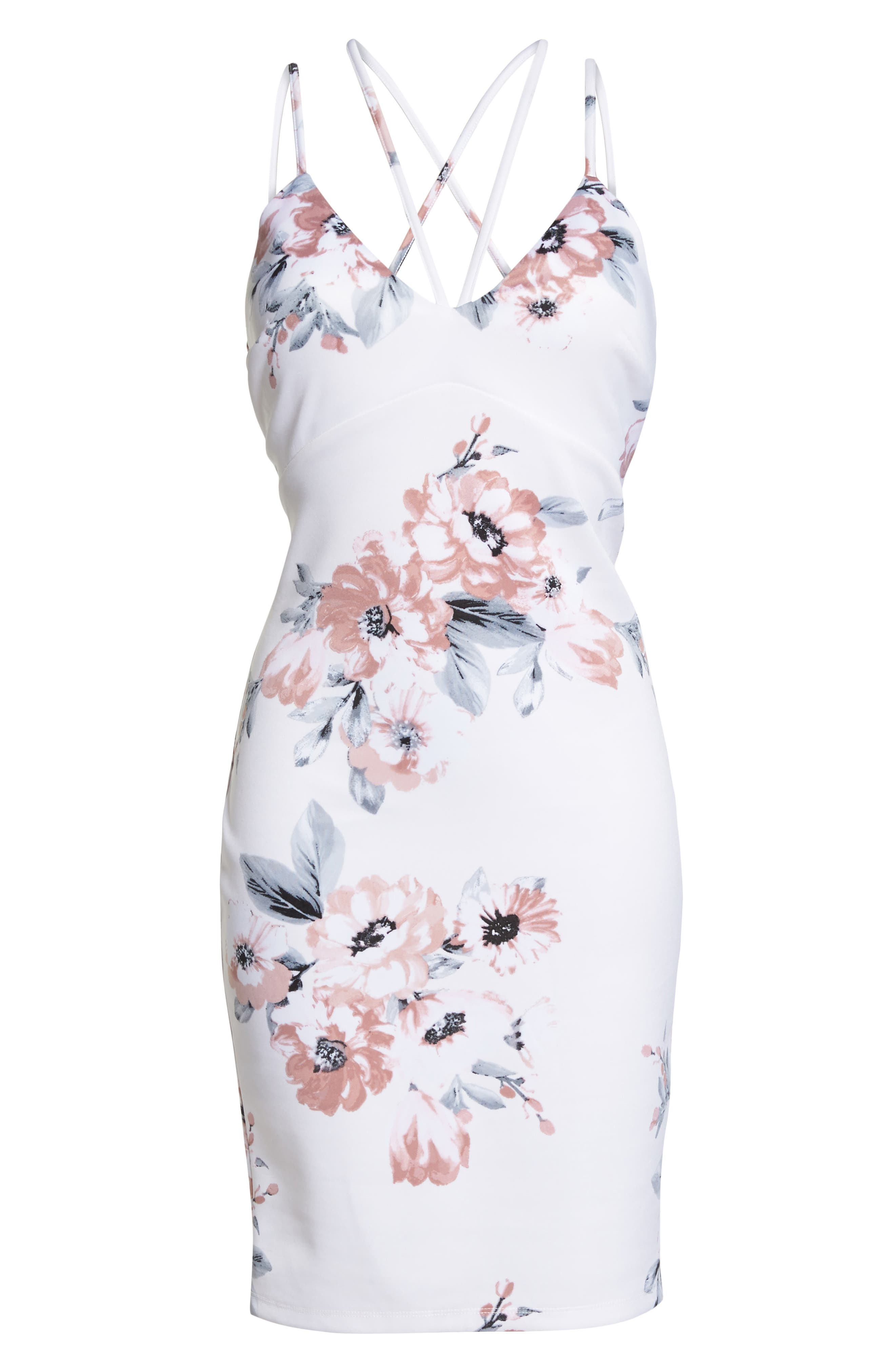 Floral Print Double Strap Scuba Dress,                             Alternate thumbnail 6, color,                             Ivory/ Mauve