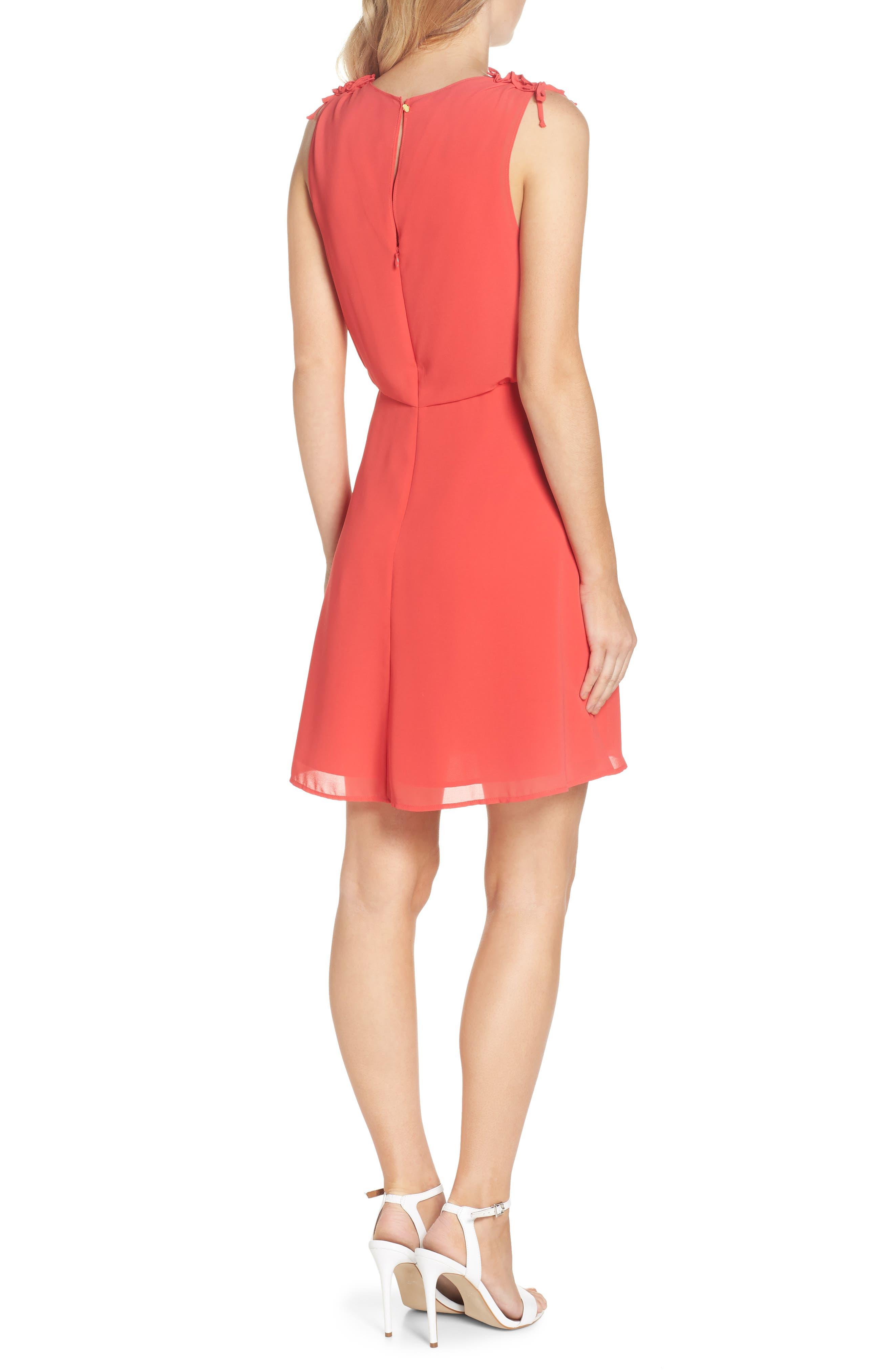 Soufflé V-Neck Chiffon Dress,                             Alternate thumbnail 2, color,                             Strawberry