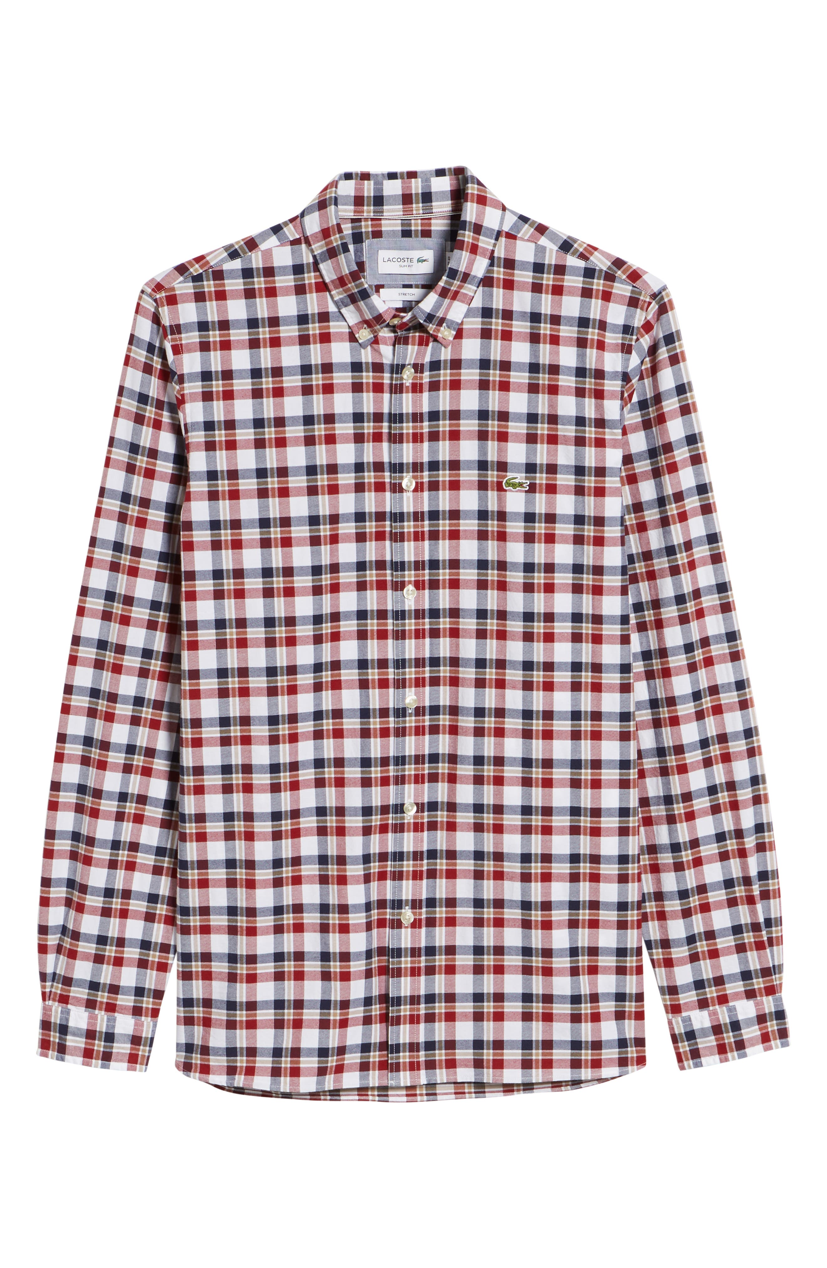 Slim Fit Check Oxford Sport Shirt,                             Alternate thumbnail 6, color,                             Turkey Red