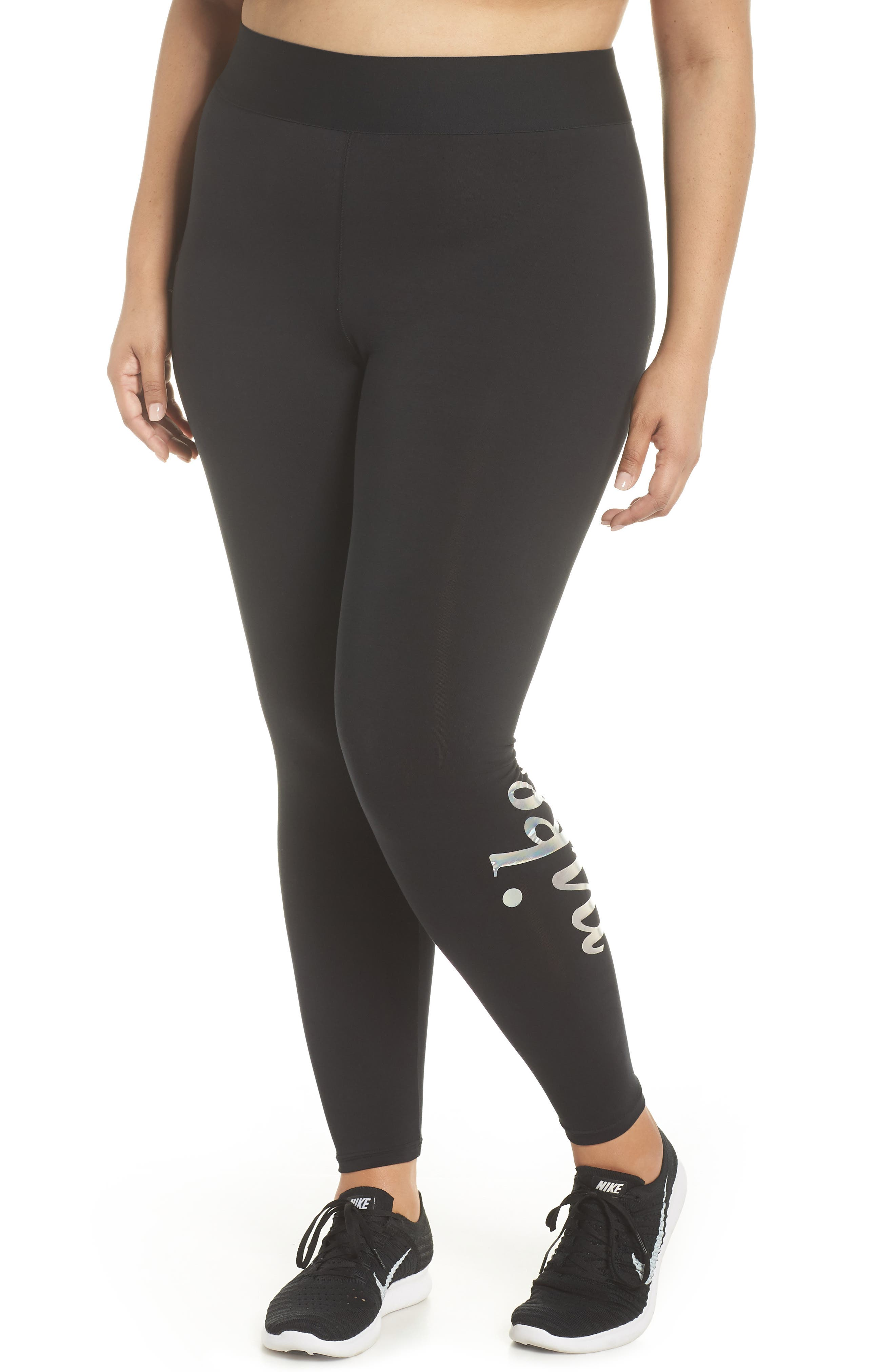 Sportswear Metallic Logo Leggings,                             Main thumbnail 1, color,                             Black/ Black