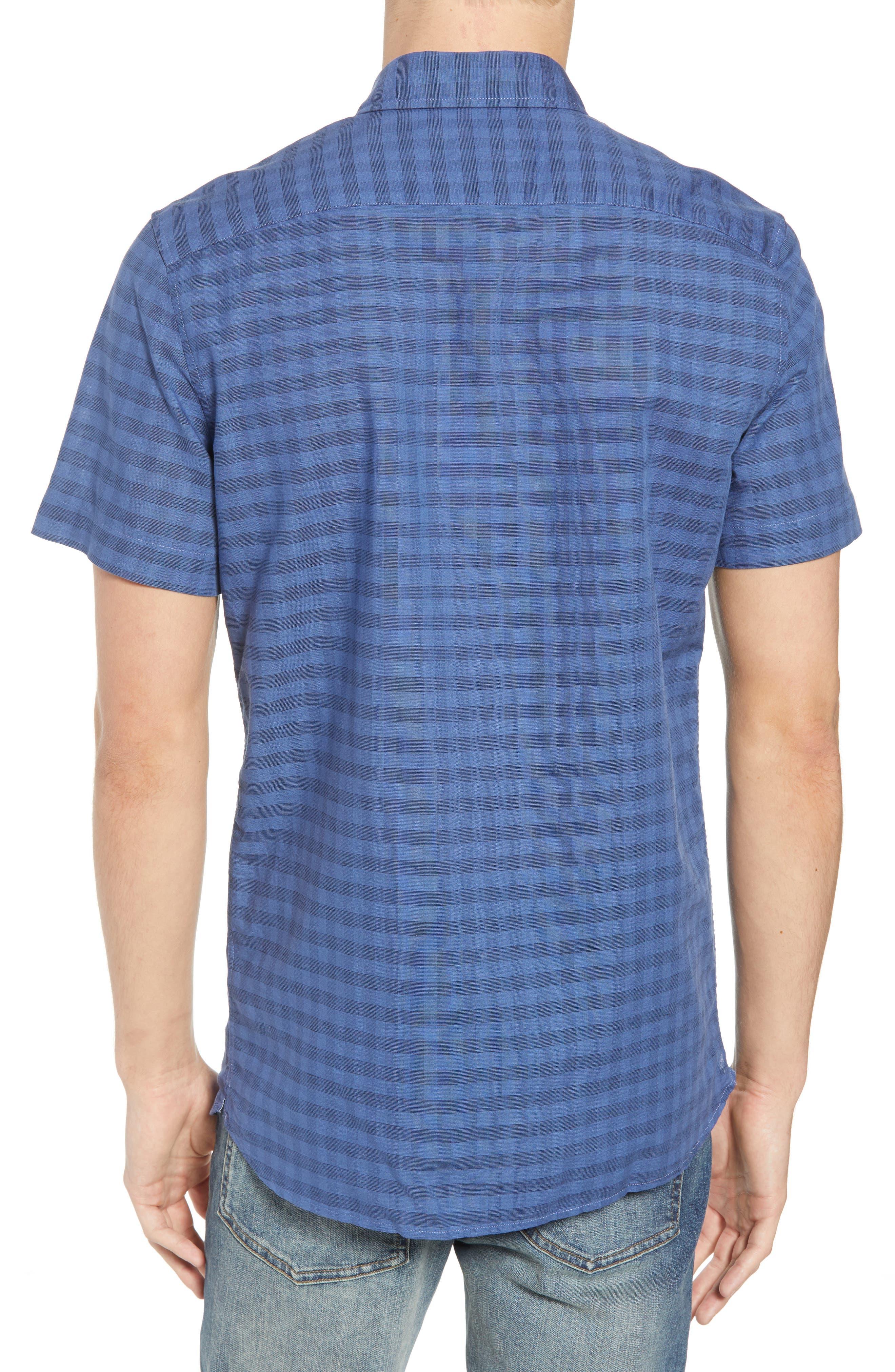 Slim Fit Check Cotton & Linen Sport Shirt,                             Alternate thumbnail 3, color,                             Marino