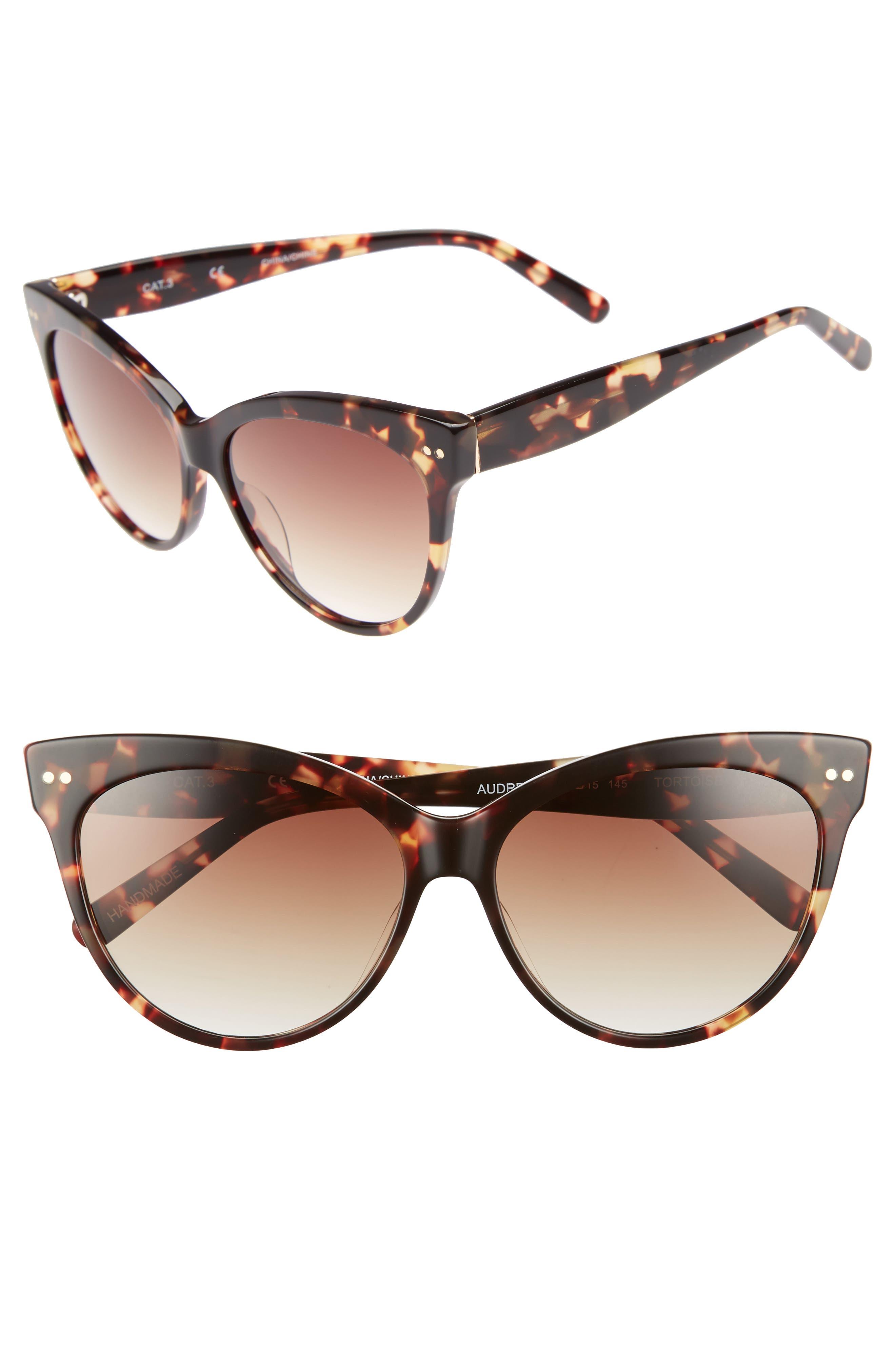 Audrey 60mm Cat Eye Sunglasses,                             Main thumbnail 1, color,                             Brown Tortoise