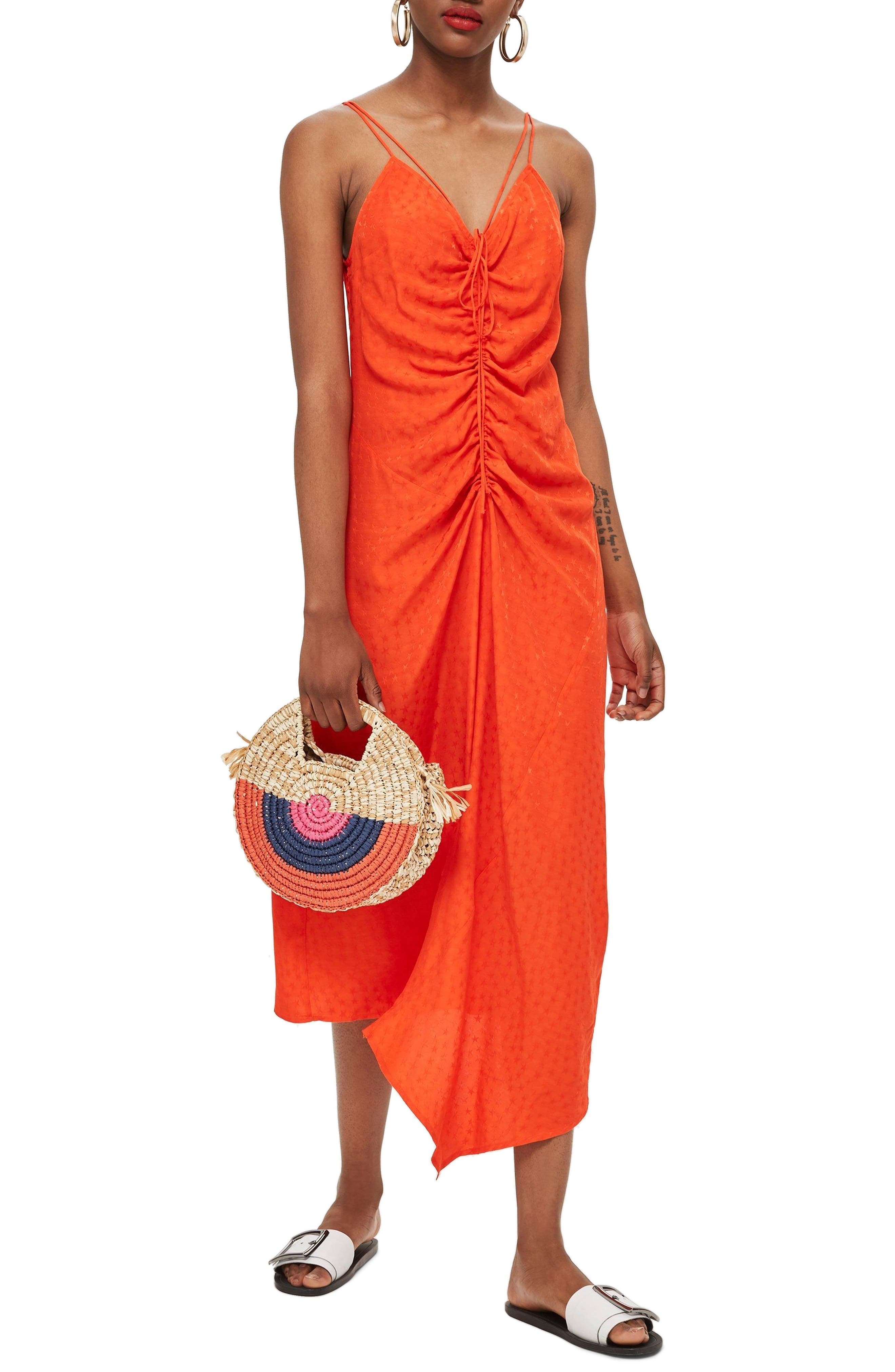 Star Jacquard Ruched Slipdress,                         Main,                         color, Red