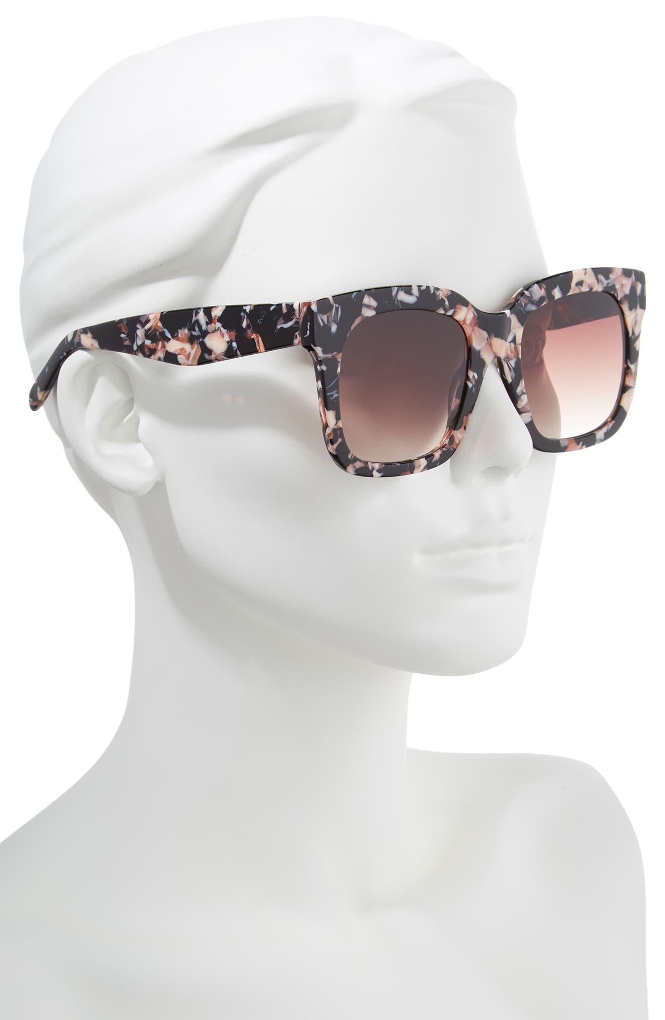 Coco 52mm Sunglasses,                             Alternate thumbnail 2, color,                             Black Pink Marble