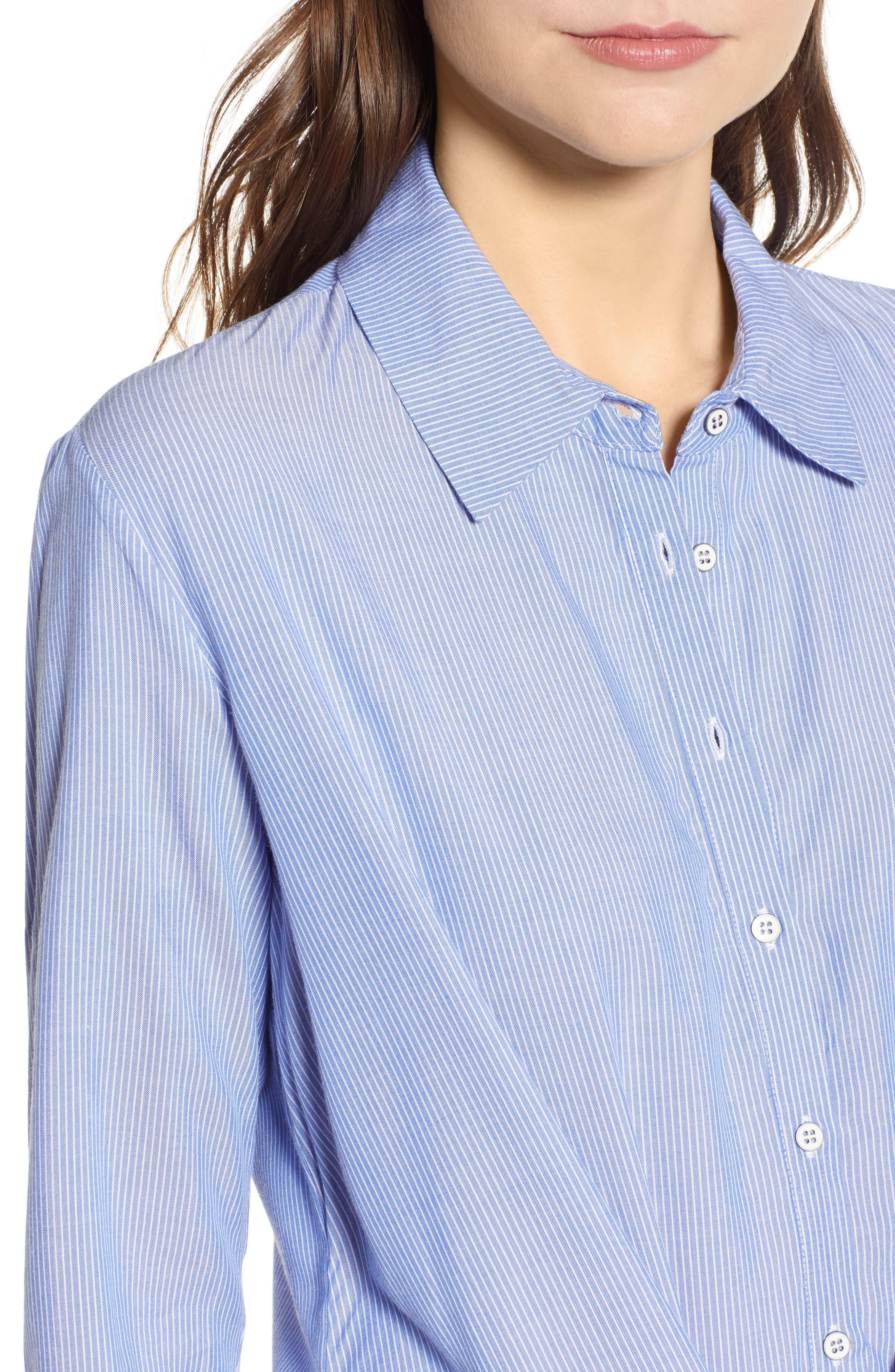 Knot Front Shirtdress,                             Alternate thumbnail 4, color,                             Indigo/ Ivory
