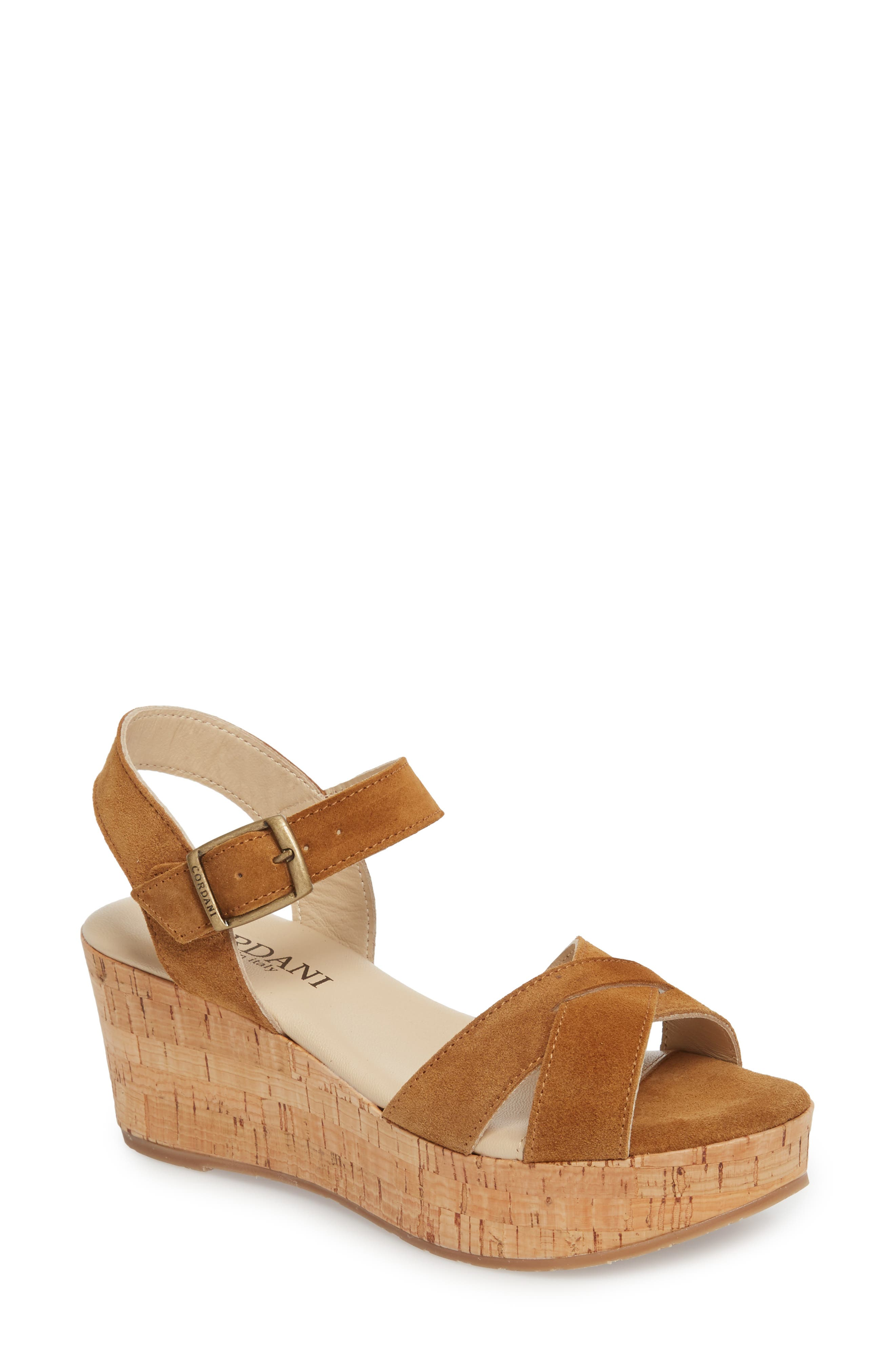 Candy Wedge Sandal,                         Main,                         color, Cola Suede