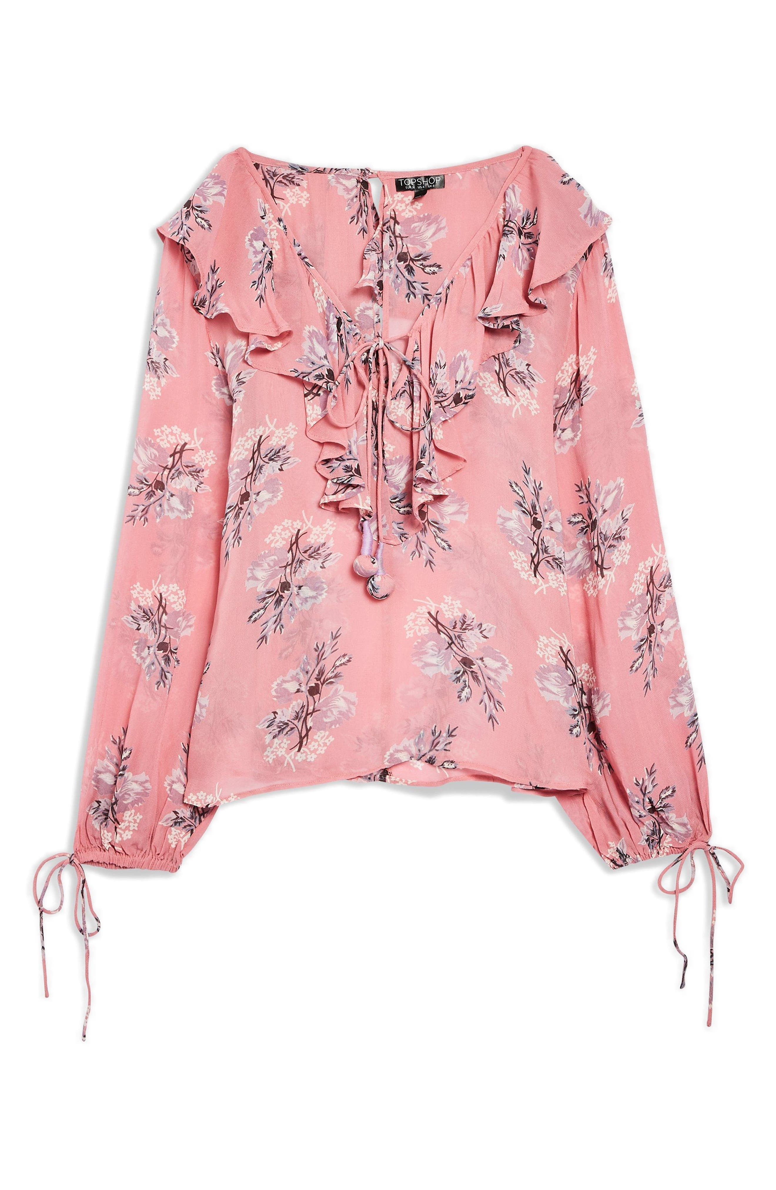 Floral Ruffle Pompom Blouse,                             Alternate thumbnail 3, color,                             Pink Multi