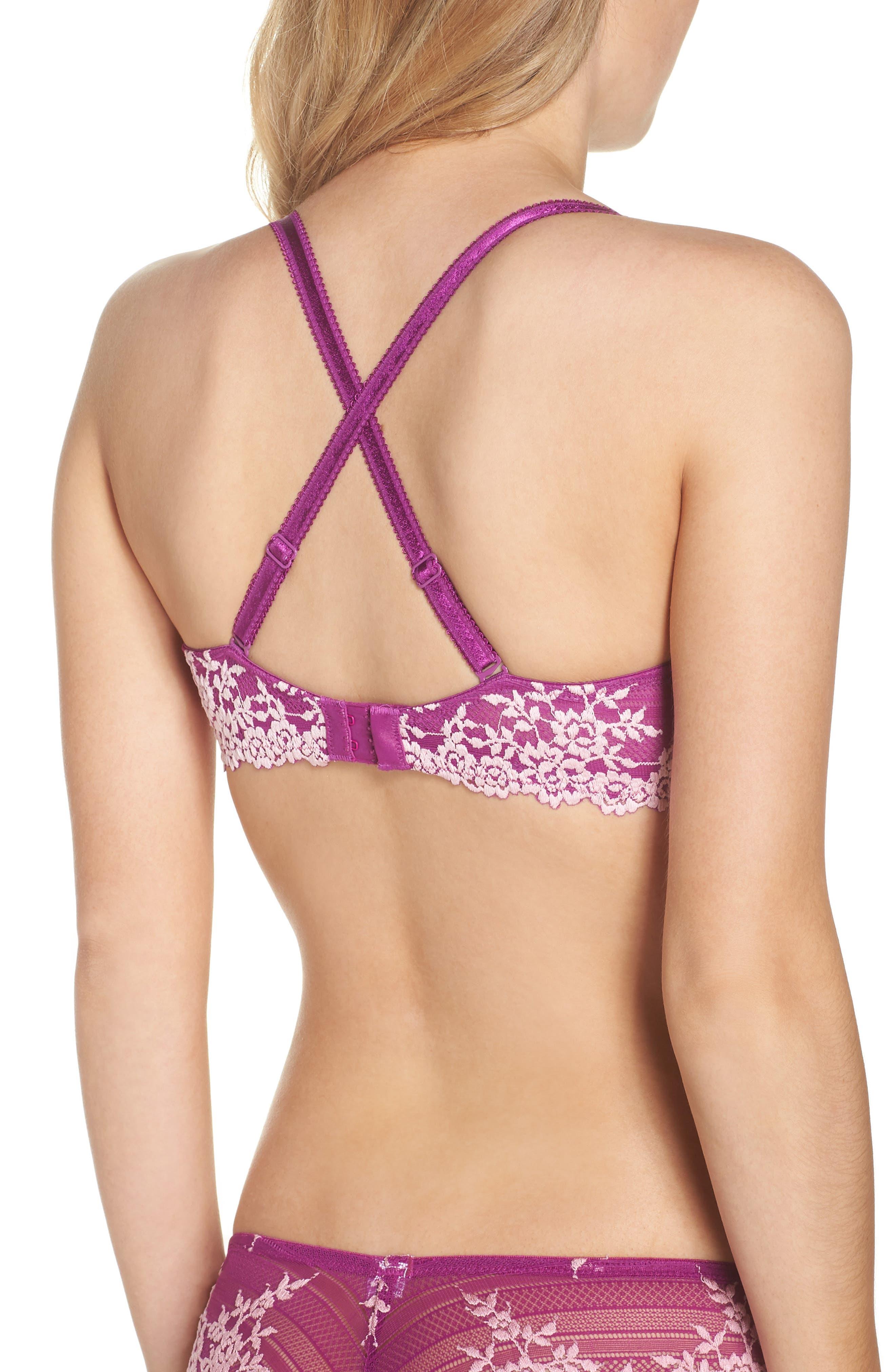 Embrace Lace Underwire Contour Bra,                             Alternate thumbnail 3, color,                             Hollyhock/ Chalk Pink