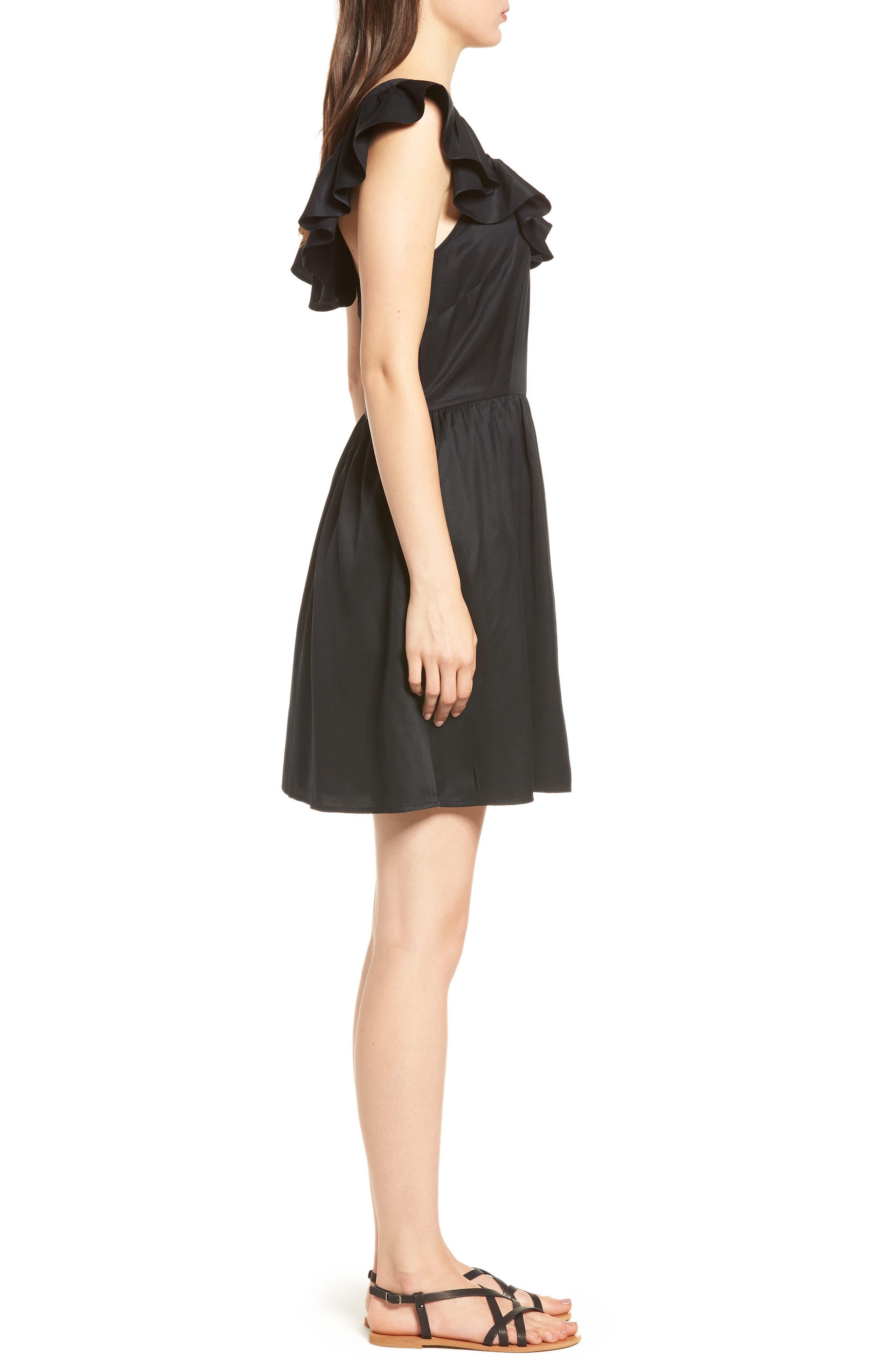 Ruffle Satin Dress,                             Alternate thumbnail 3, color,                             Black