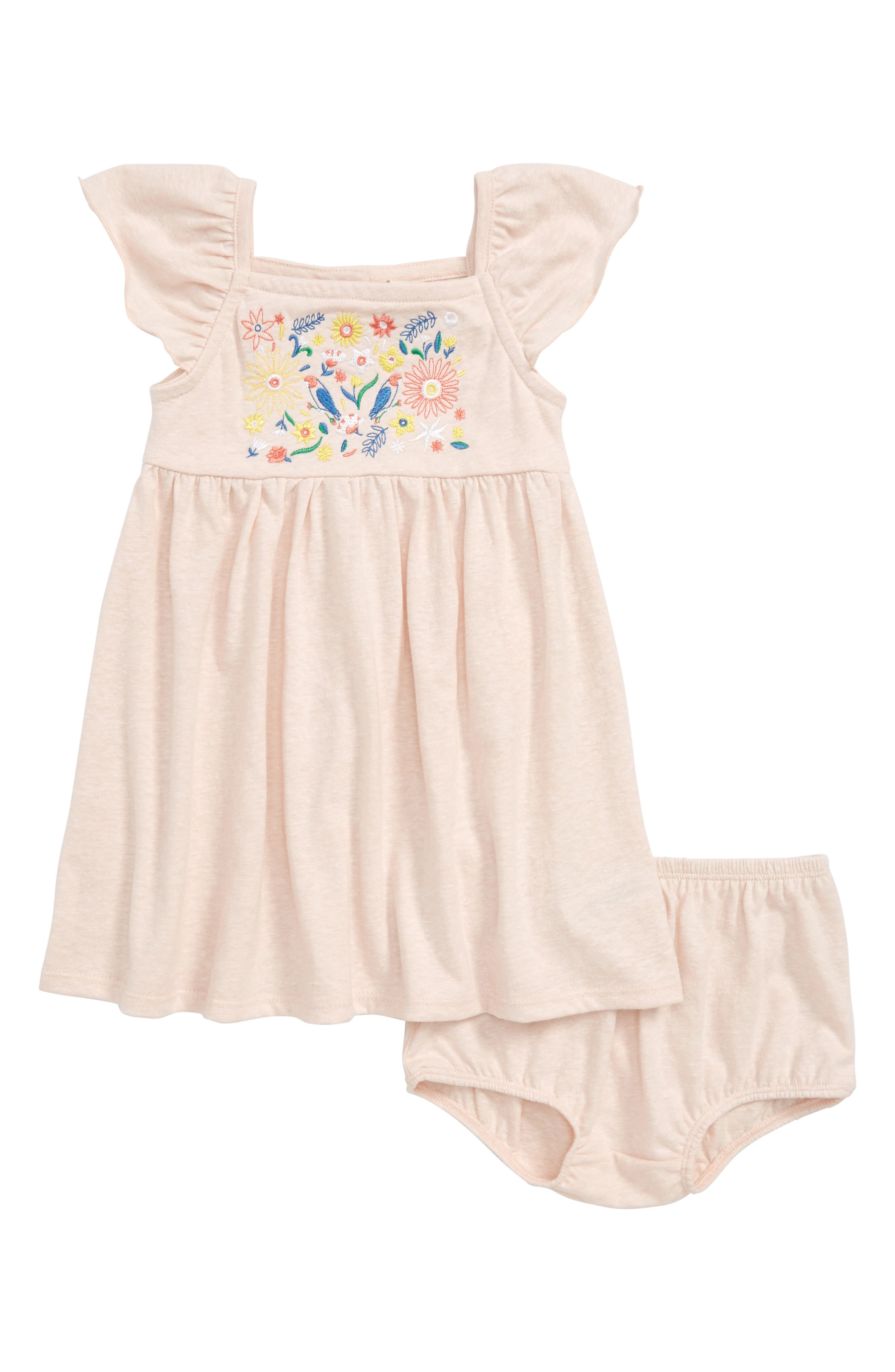 Embroidered Flutter Sleeve Dress,                         Main,                         color, Pink Chintz
