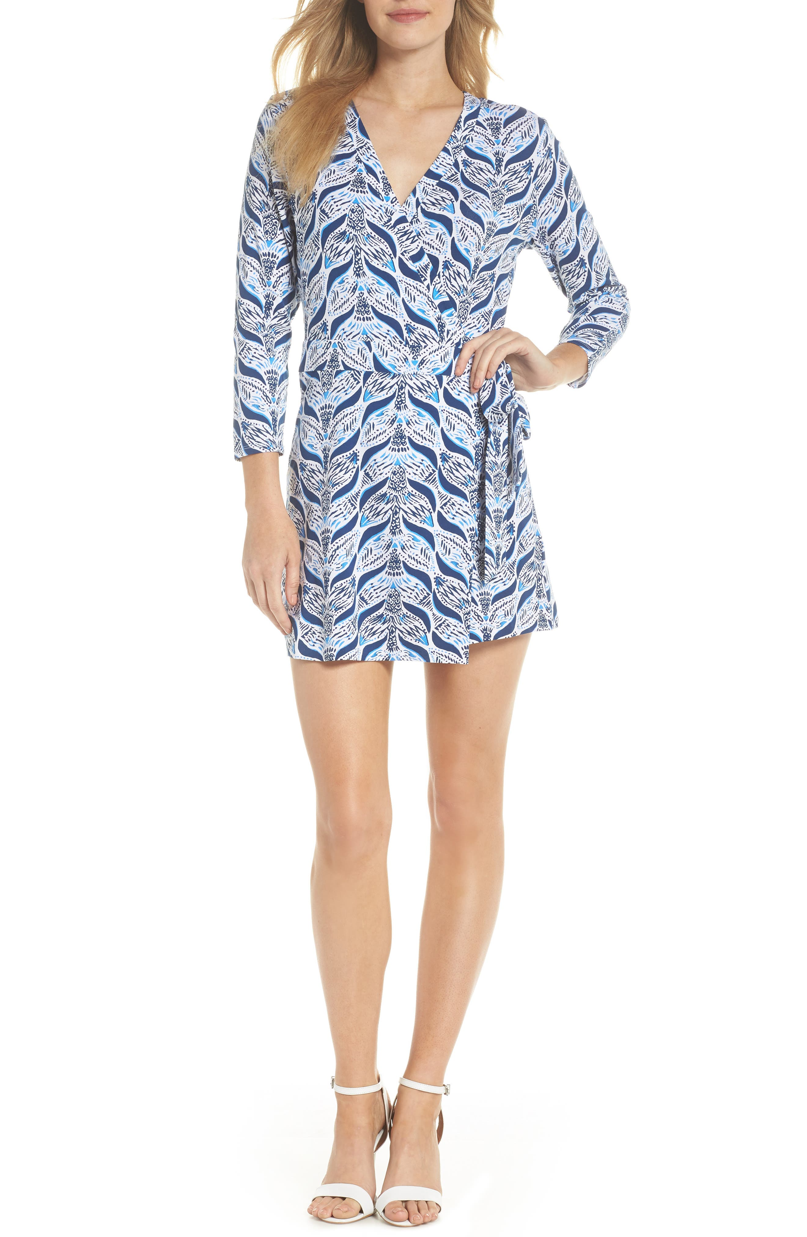 Karlie Wrap Style Romper,                             Main thumbnail 1, color,                             Resort White A Mermaids Tail