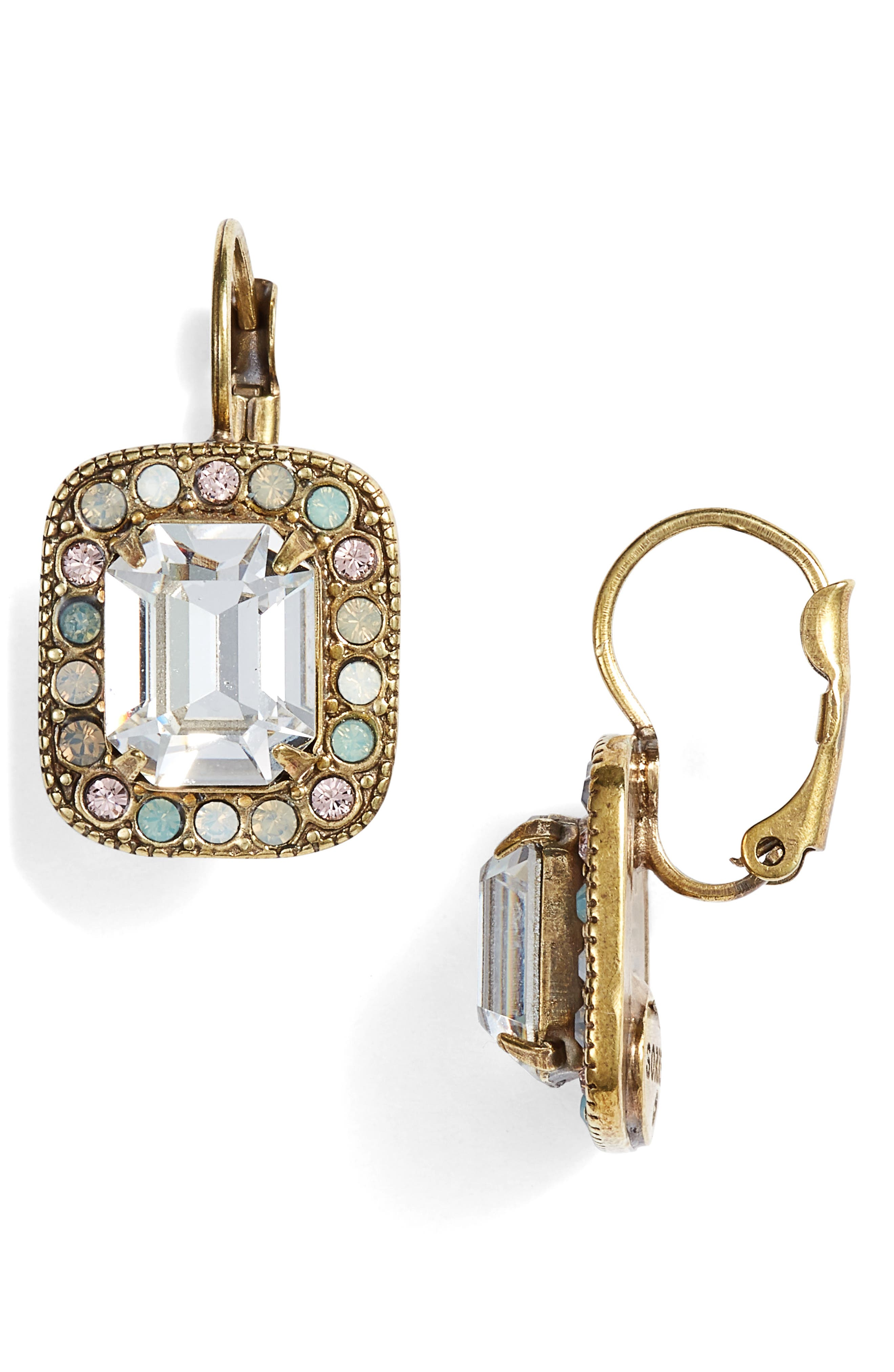 Opulent Octagon Crystal Drop Earrings,                             Main thumbnail 1, color,                             Clear