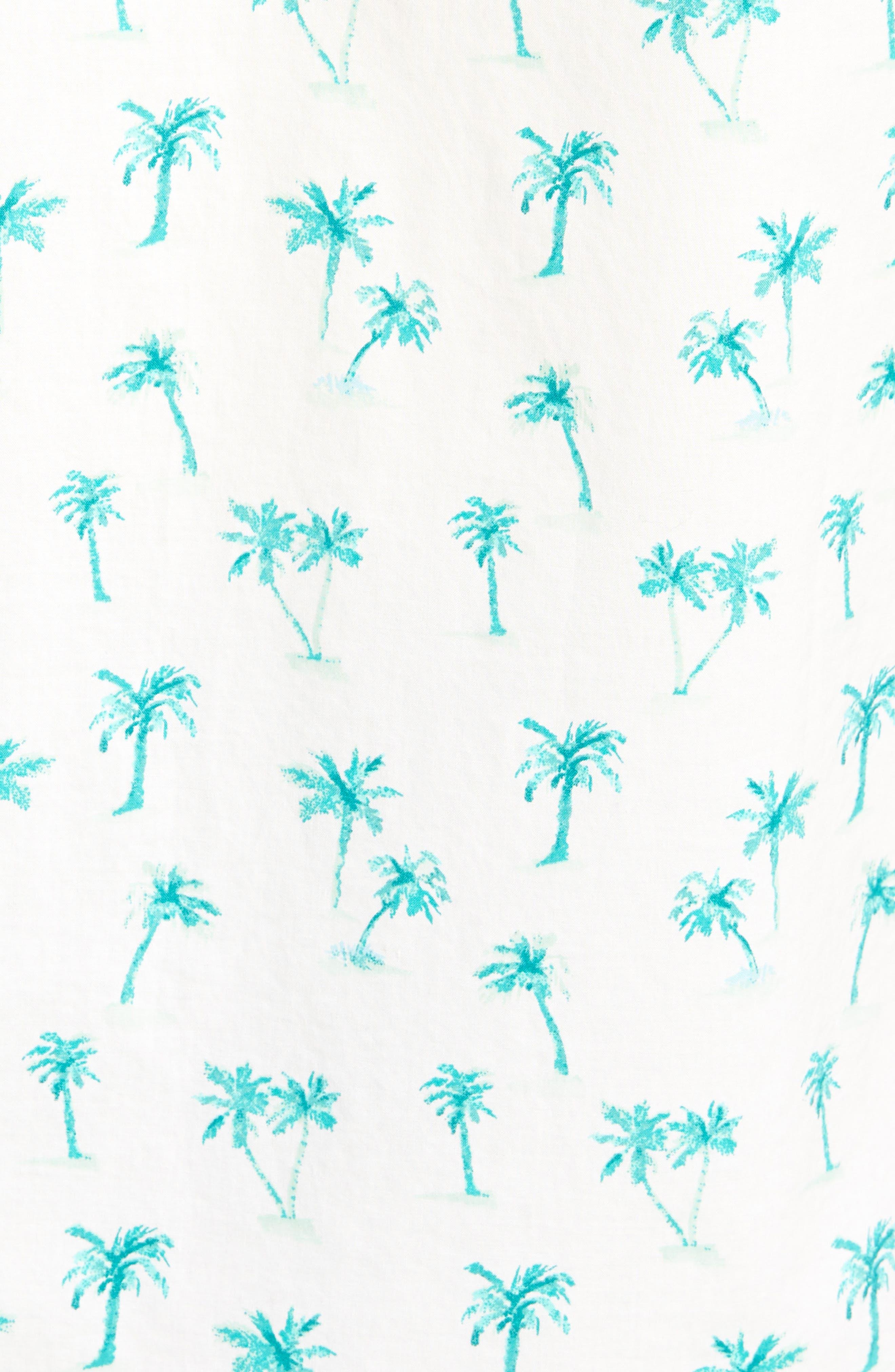Riviera Slim Fit Palm Print Sport Shirt,                             Alternate thumbnail 5, color,                             Dreamy Palm - Latigo Bay
