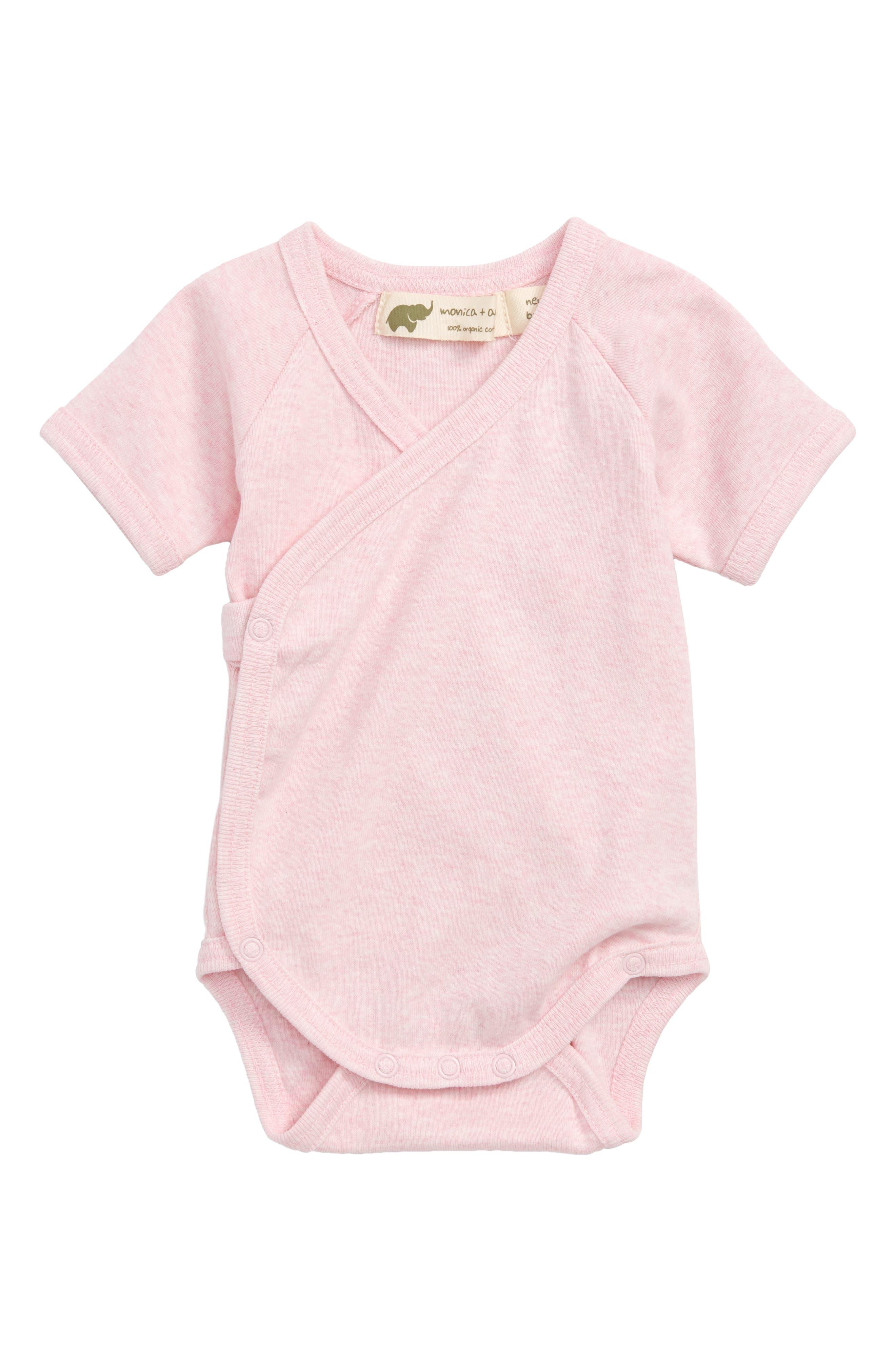 Lucky Organic Cotton Wrap Bodysuit,                         Main,                         color, Pink Heather