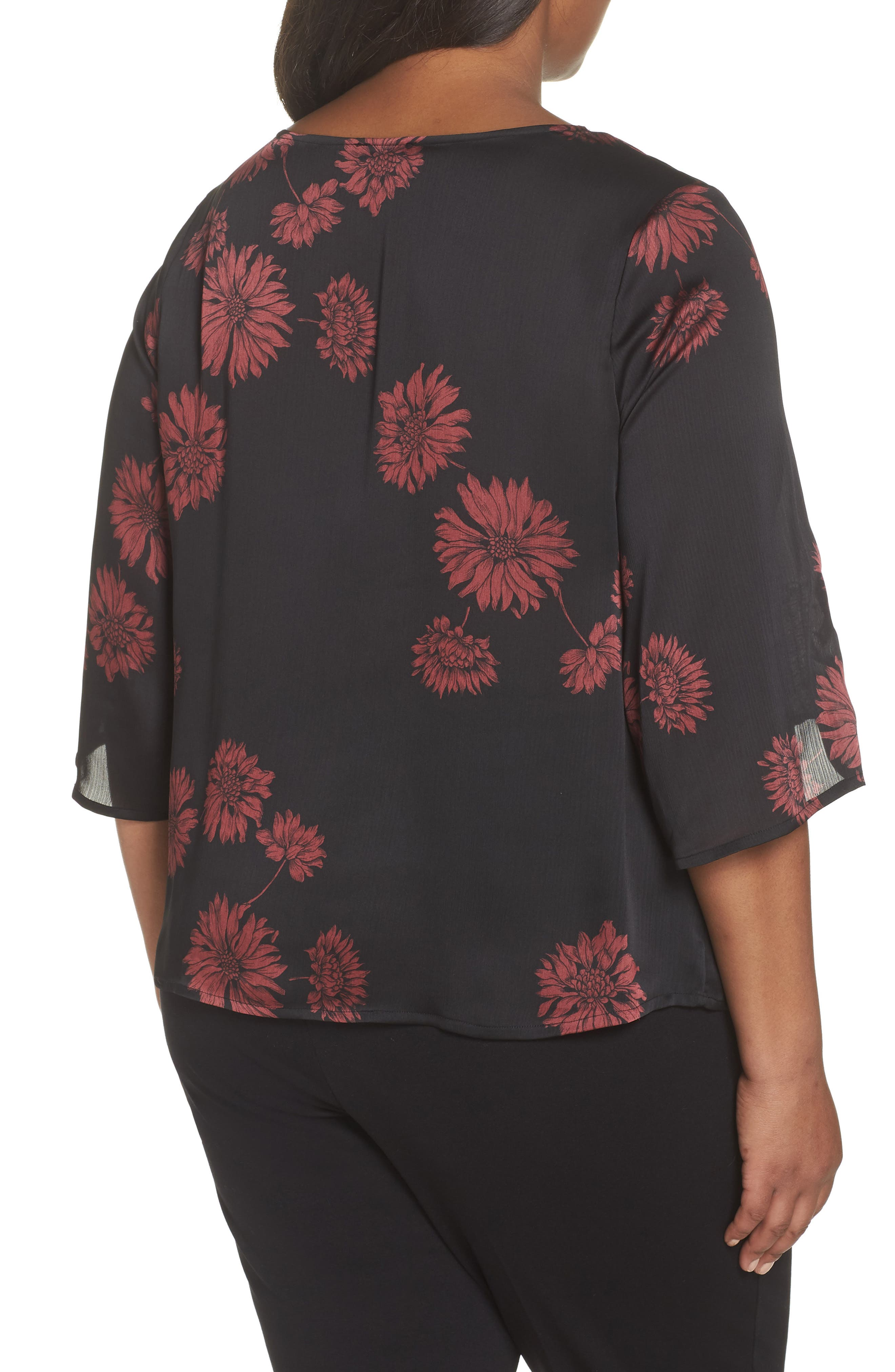 Chateau Floral Print Top,                             Alternate thumbnail 2, color,                             Rich Black
