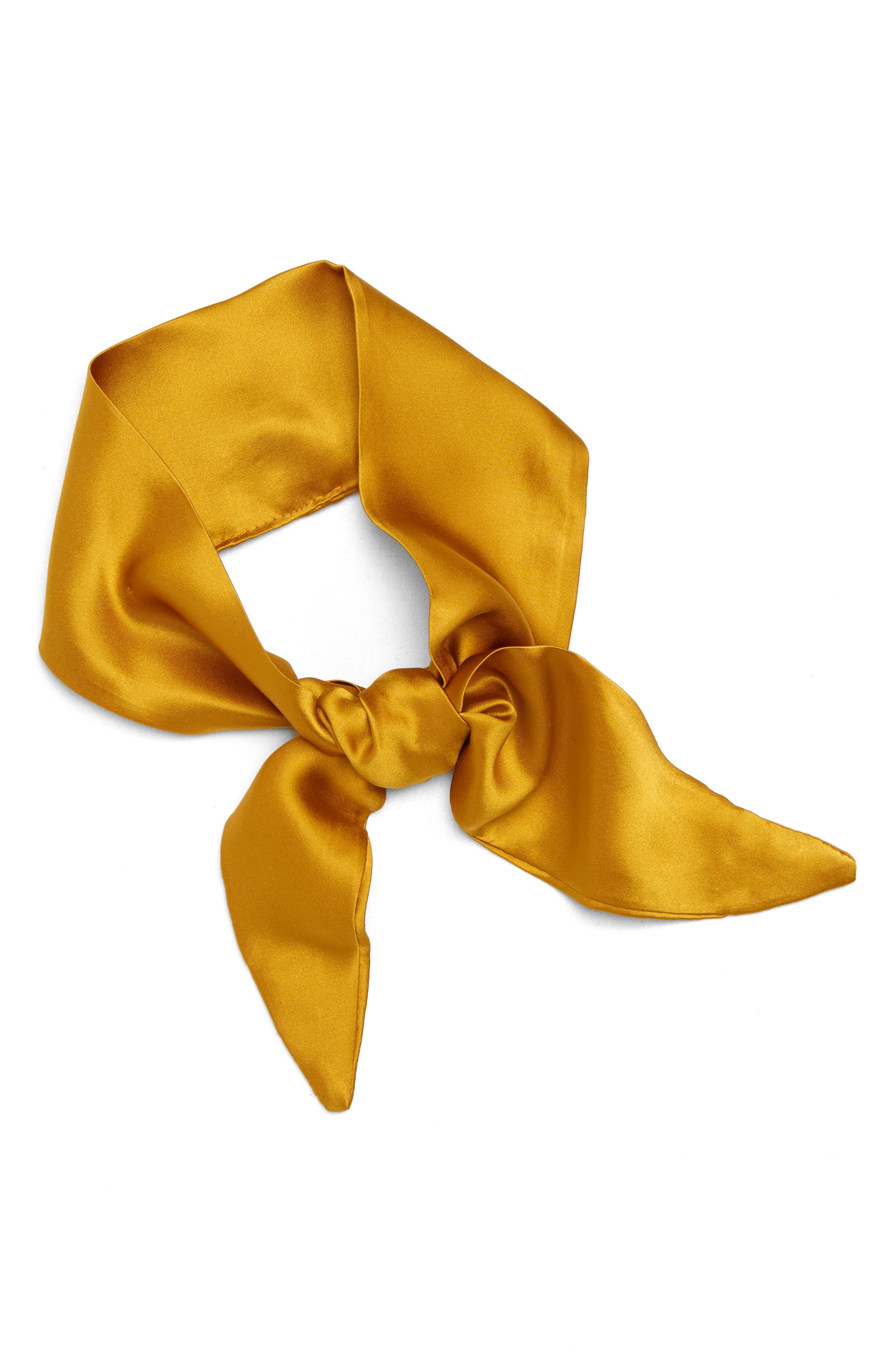Coco Silk Neckerchief,                         Main,                         color, Mustard