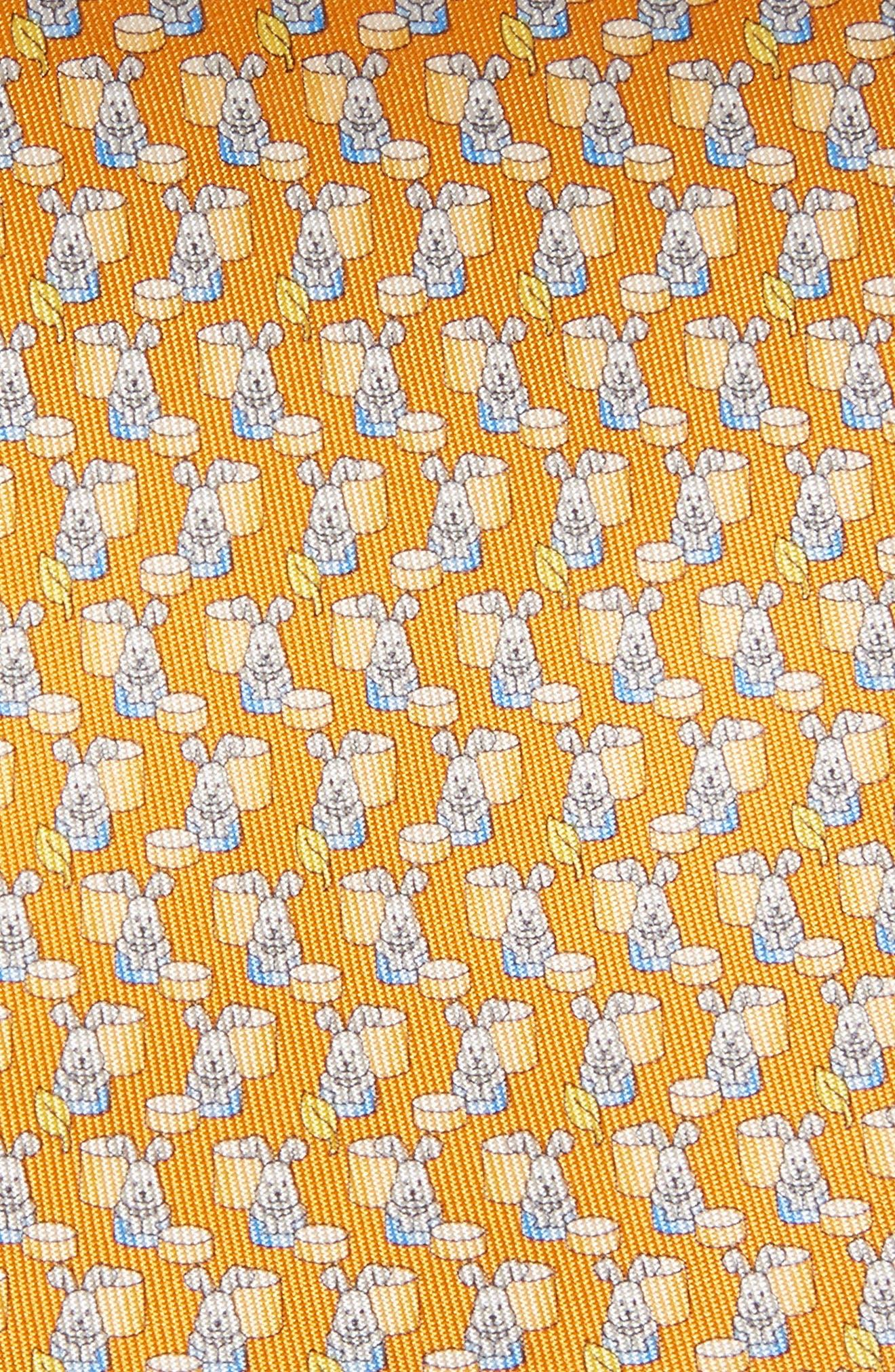 Bunny Print Silk Tie,                             Alternate thumbnail 2, color,                             Orange