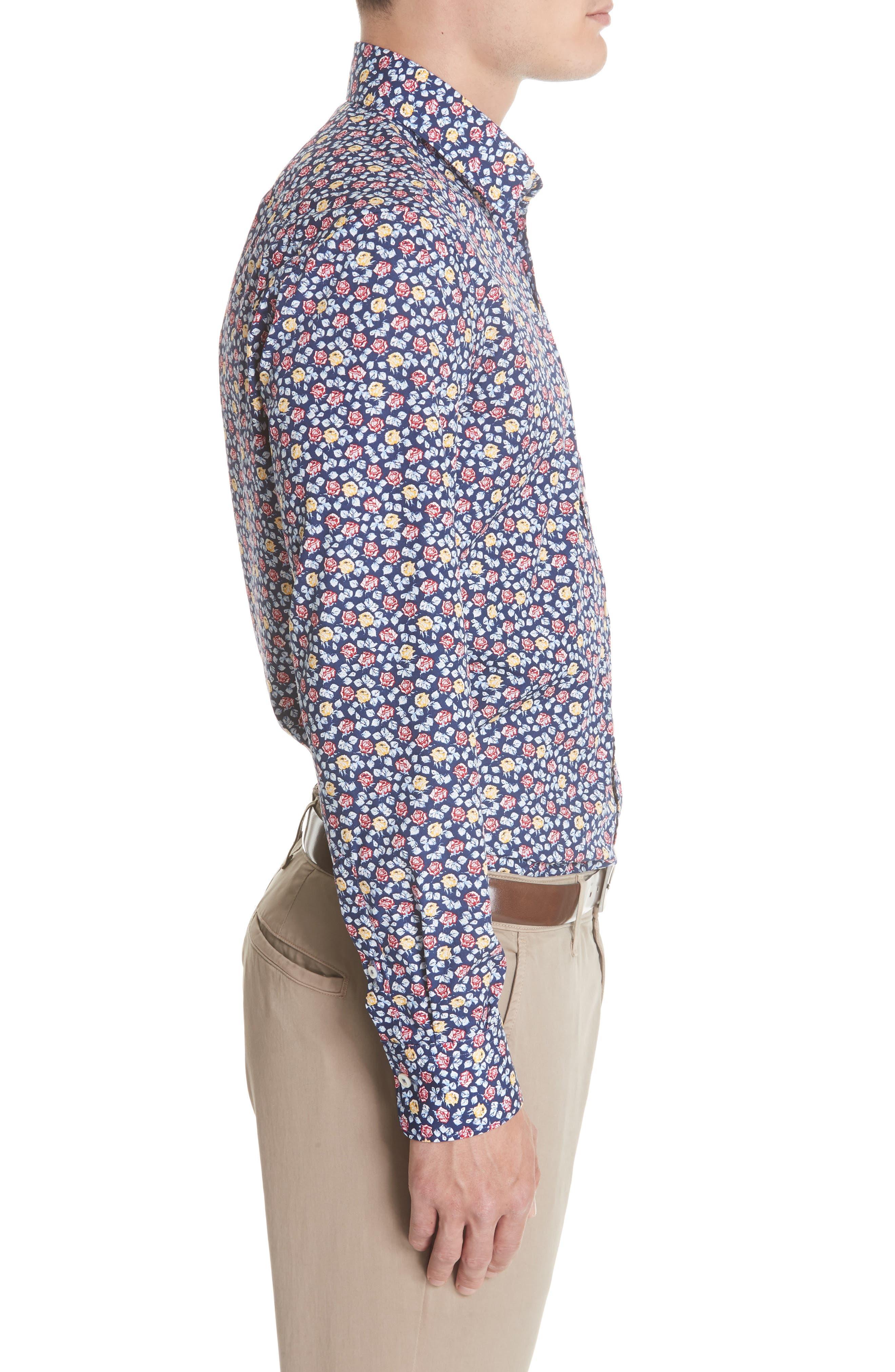 Regular Fit Floral Sport Shirt,                             Alternate thumbnail 4, color,                             Blue